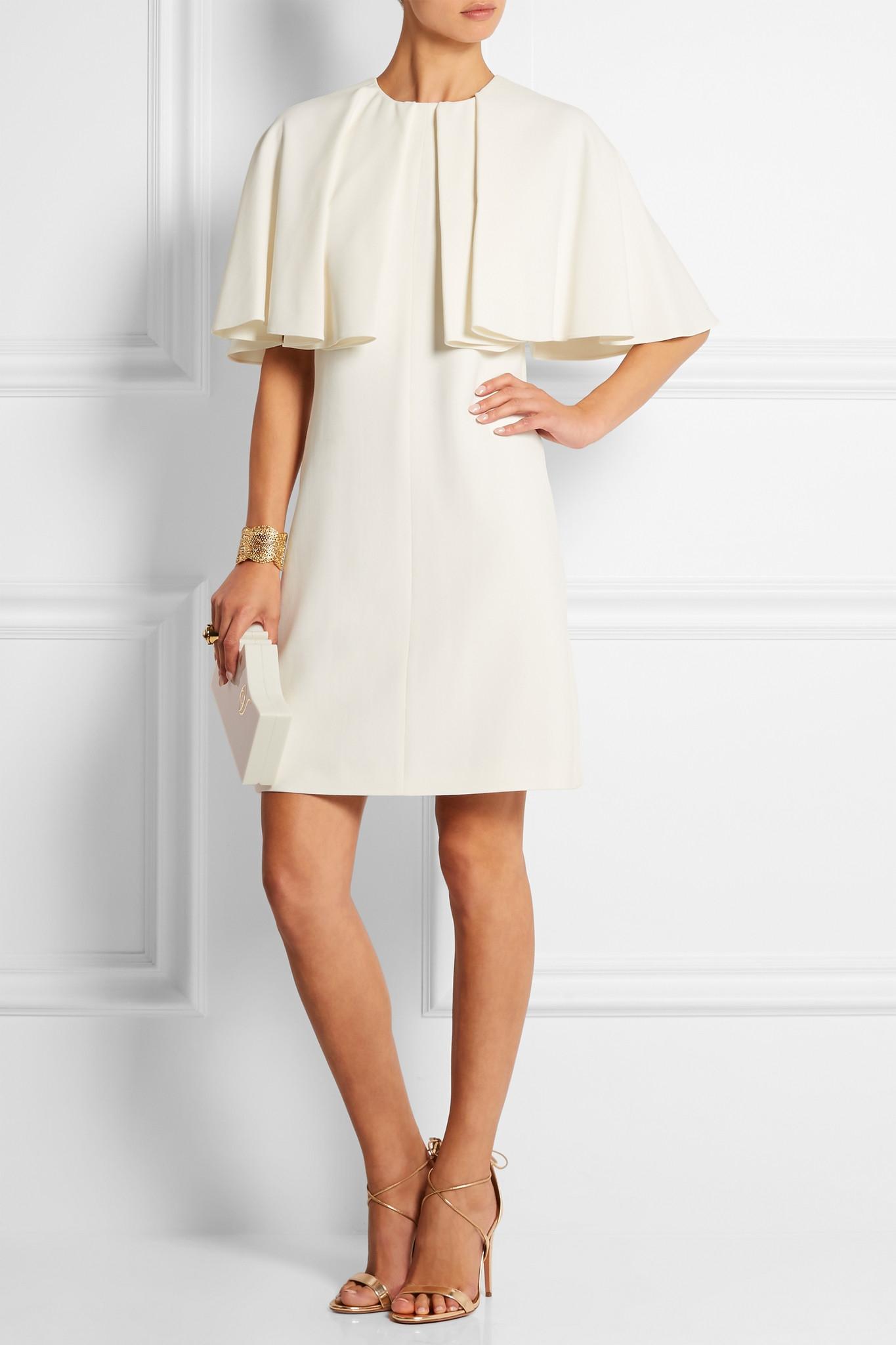 56b2cfcb75 Giambattista Valli Cape-effect Stretch-crepe Mini Dress in White - Lyst