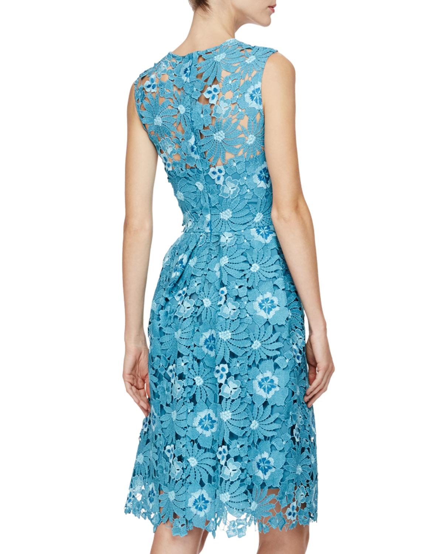Guipure Lace Dress - Blue Lela Rose 9PpS0Qfrx