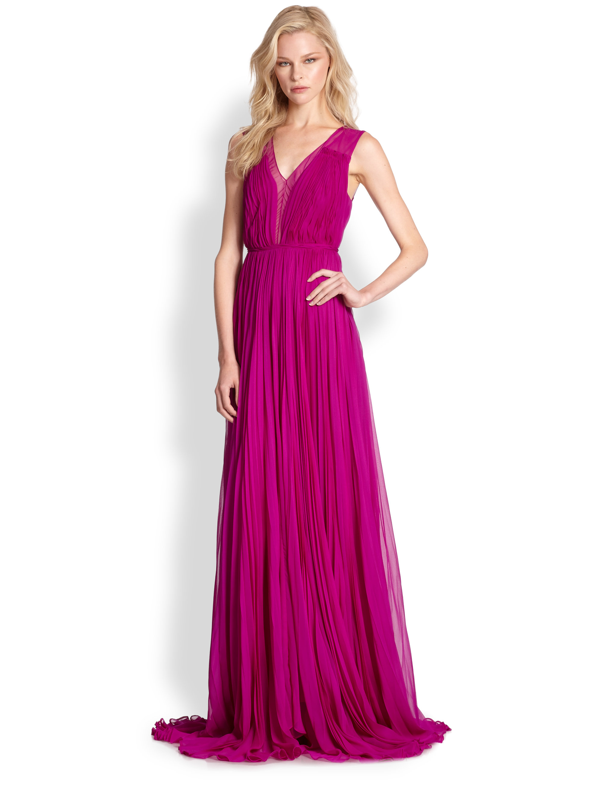 Lyst - Rebecca Taylor Shirred Chiffon Gown in Purple