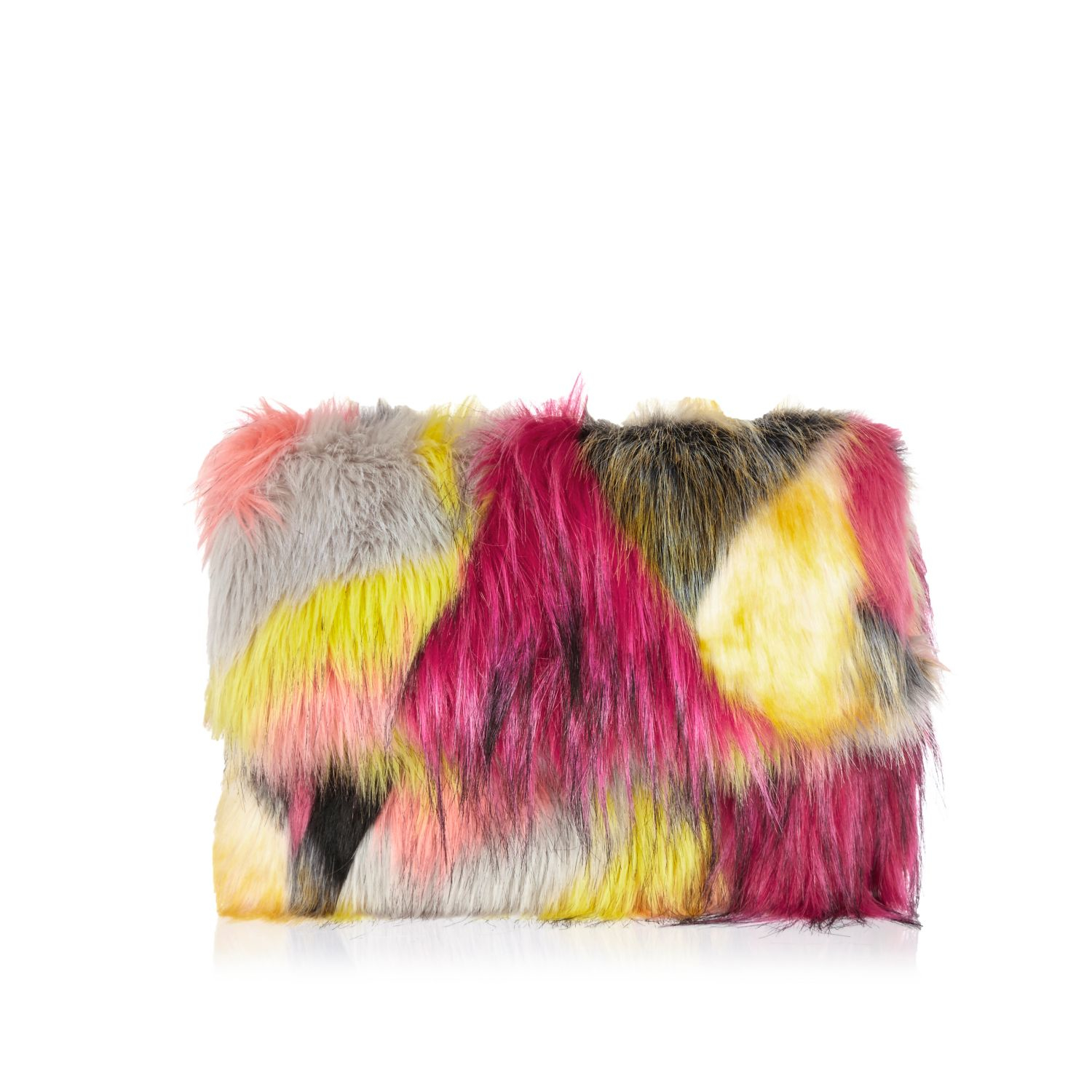 River Island Pink Faux Fur Clutch Bag in Pink - Lyst 2461004cac
