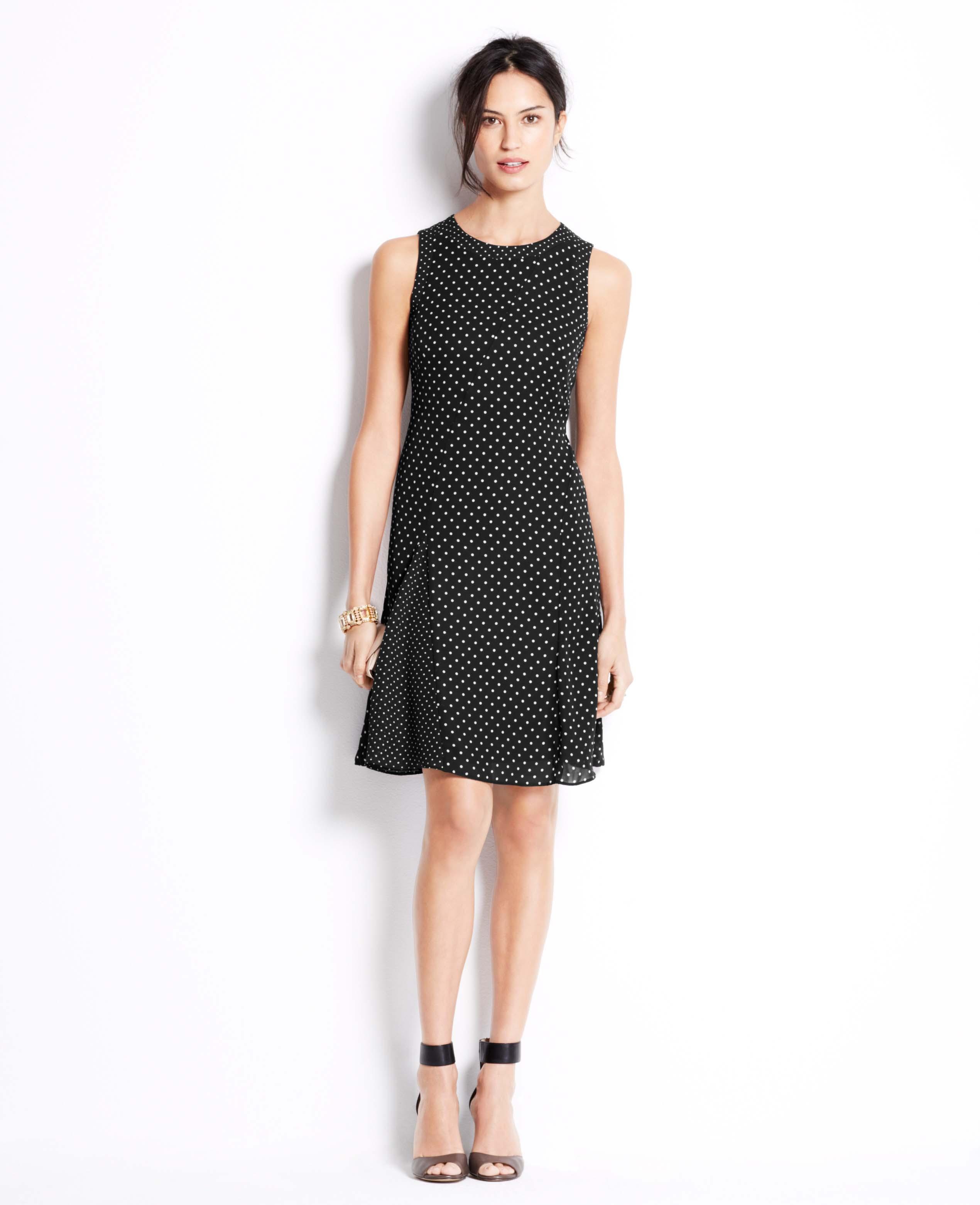 Ann Taylor Dot Print Flare Dress In Black Lyst