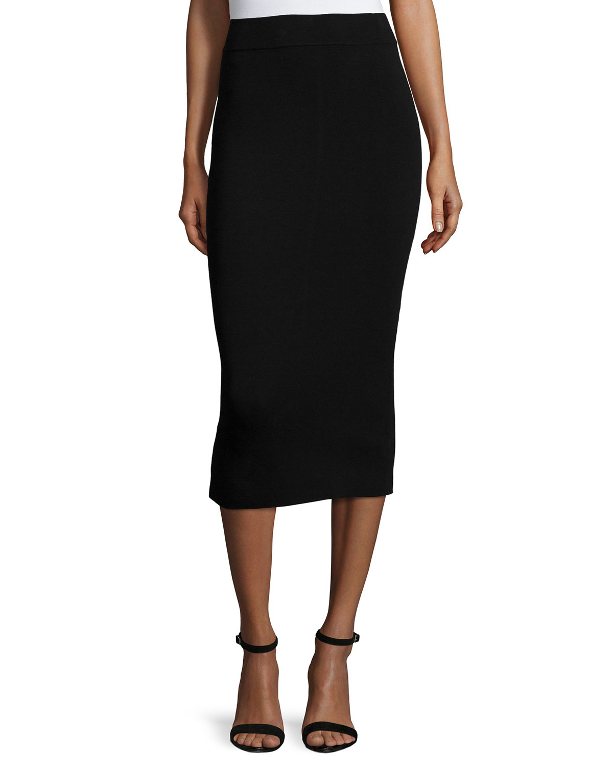 Lyst - Milly Fitted Midi Pencil Skirt in Black