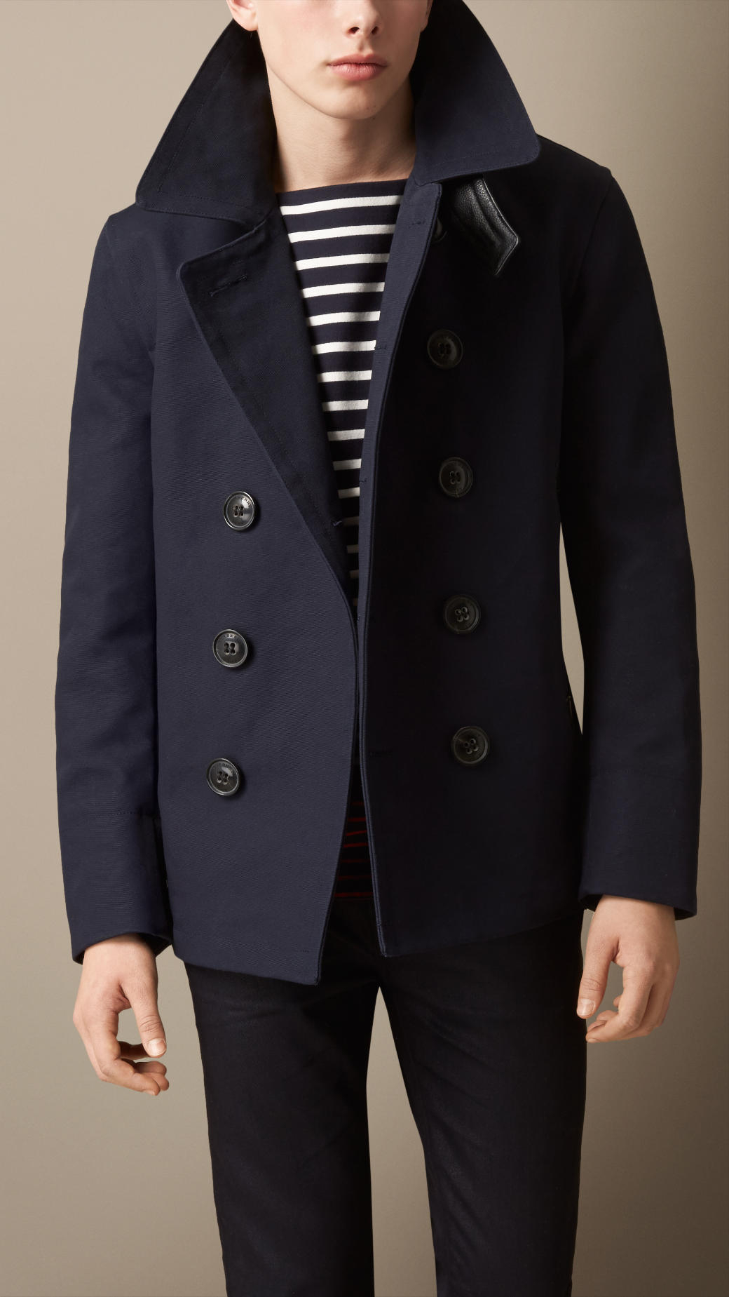 Burberry Leather Detail Bonded Cotton Pea Coat in Blue for Men | Lyst