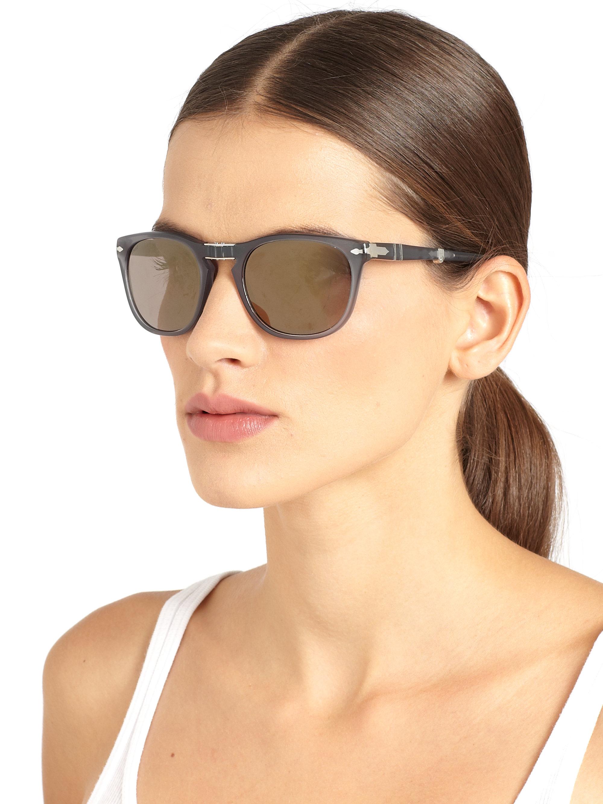 60aa2aa2fac5 Persol Folding Keyhole Acetate Sunglasses in Gray - Lyst