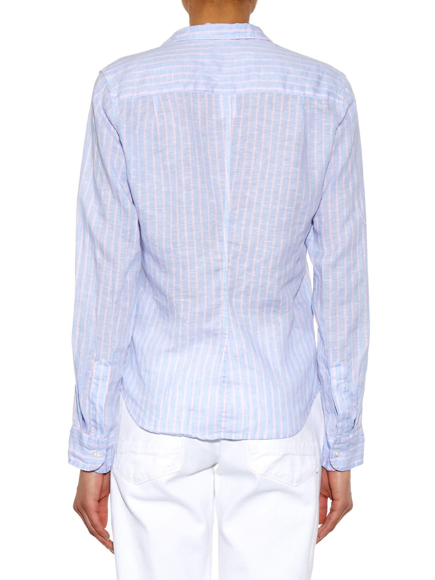 2f75d4e11 Frank & Eileen Barry Striped Linen Shirt in Blue - Lyst