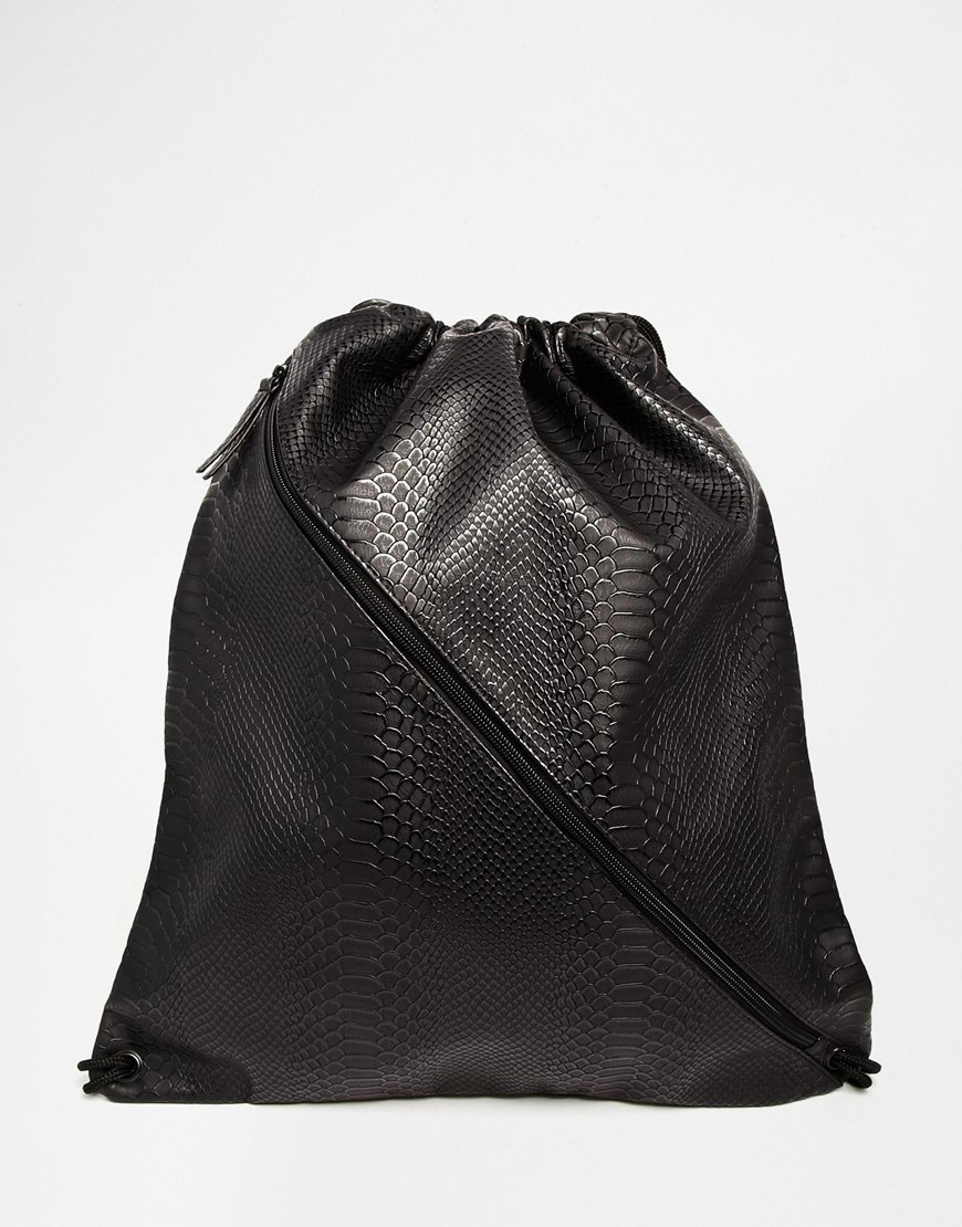 Asos Drawstring Backpack In Black Faux Leather With Crocodile ...