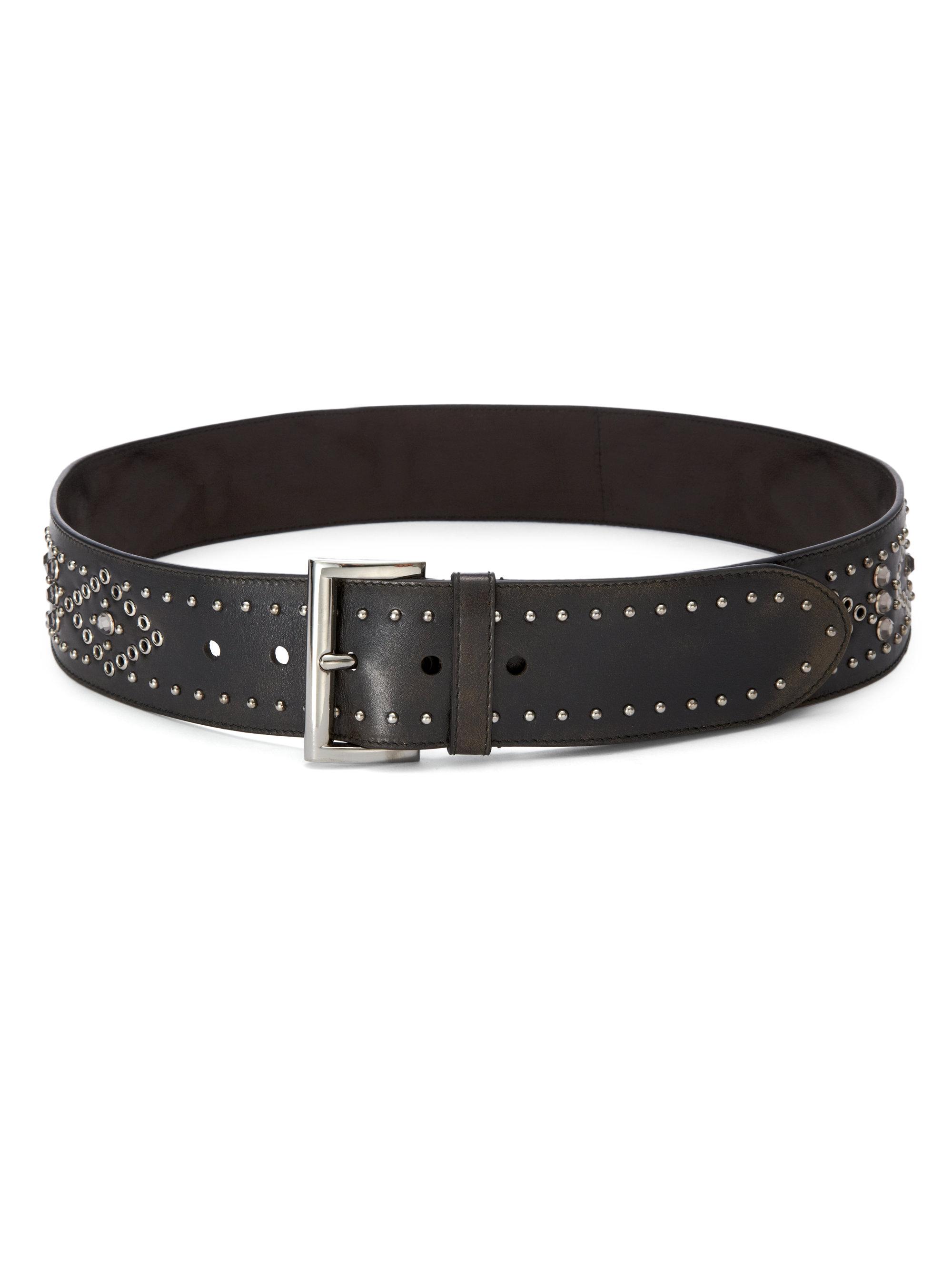 Prada Studded Wide Leather Belt in Black | Lyst