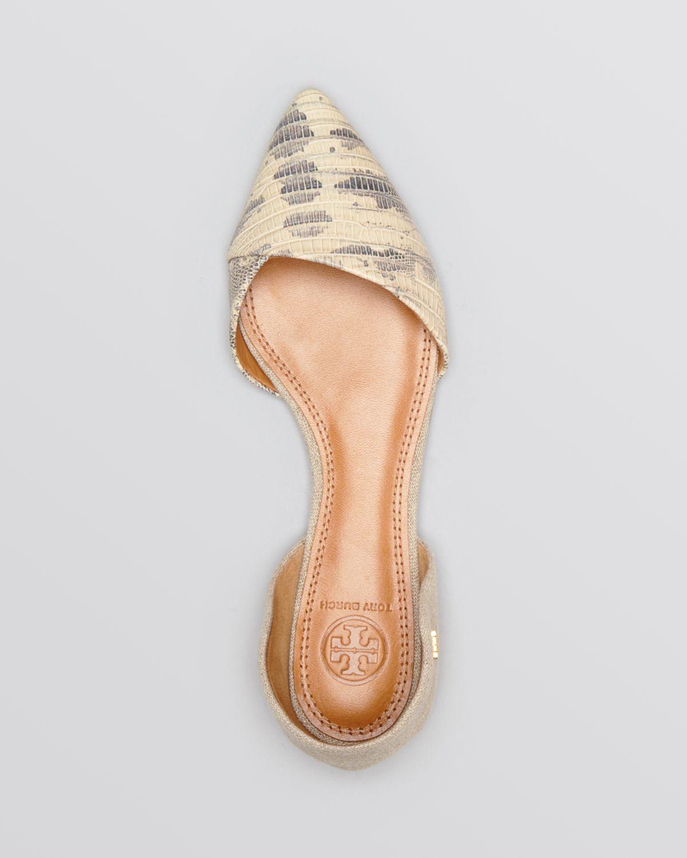 59d054d31de7 Lyst - Tory Burch Pointed Toe Dorsay Flats Viv in Natural