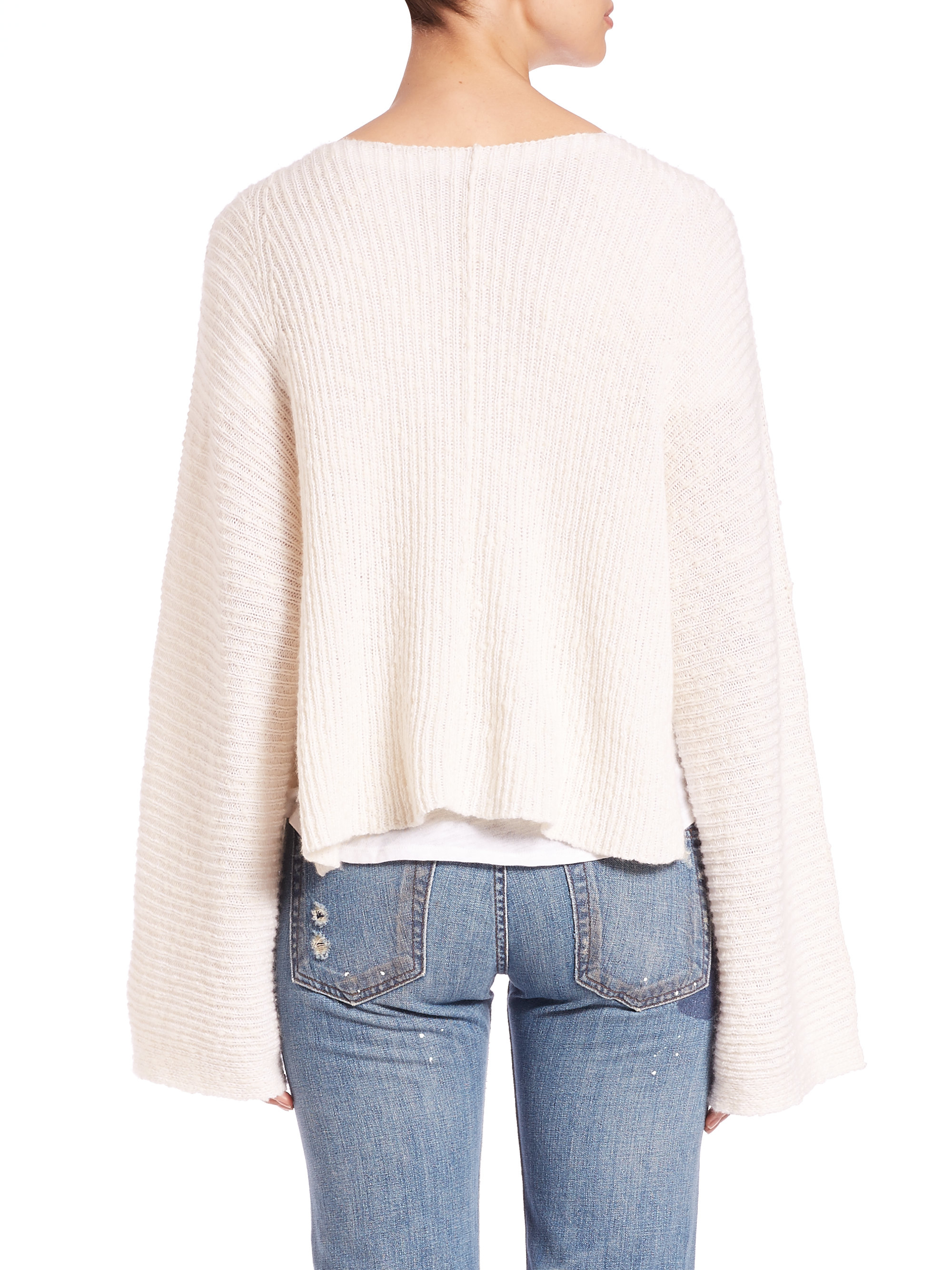 Helmut lang Cashmere & Cotton Pullover Sweater in White | Lyst