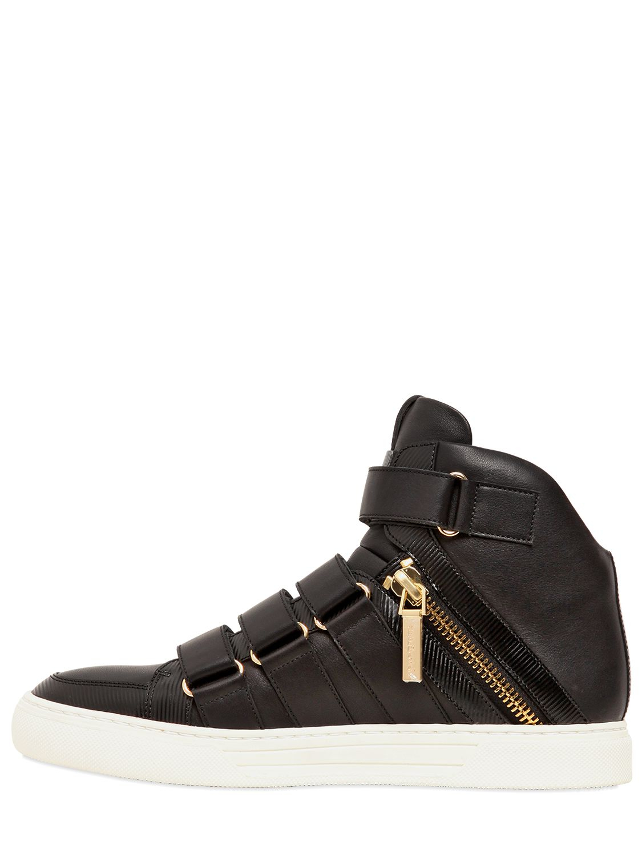 Balmain Velcro Nappa Leather High Top Sneakers In Black