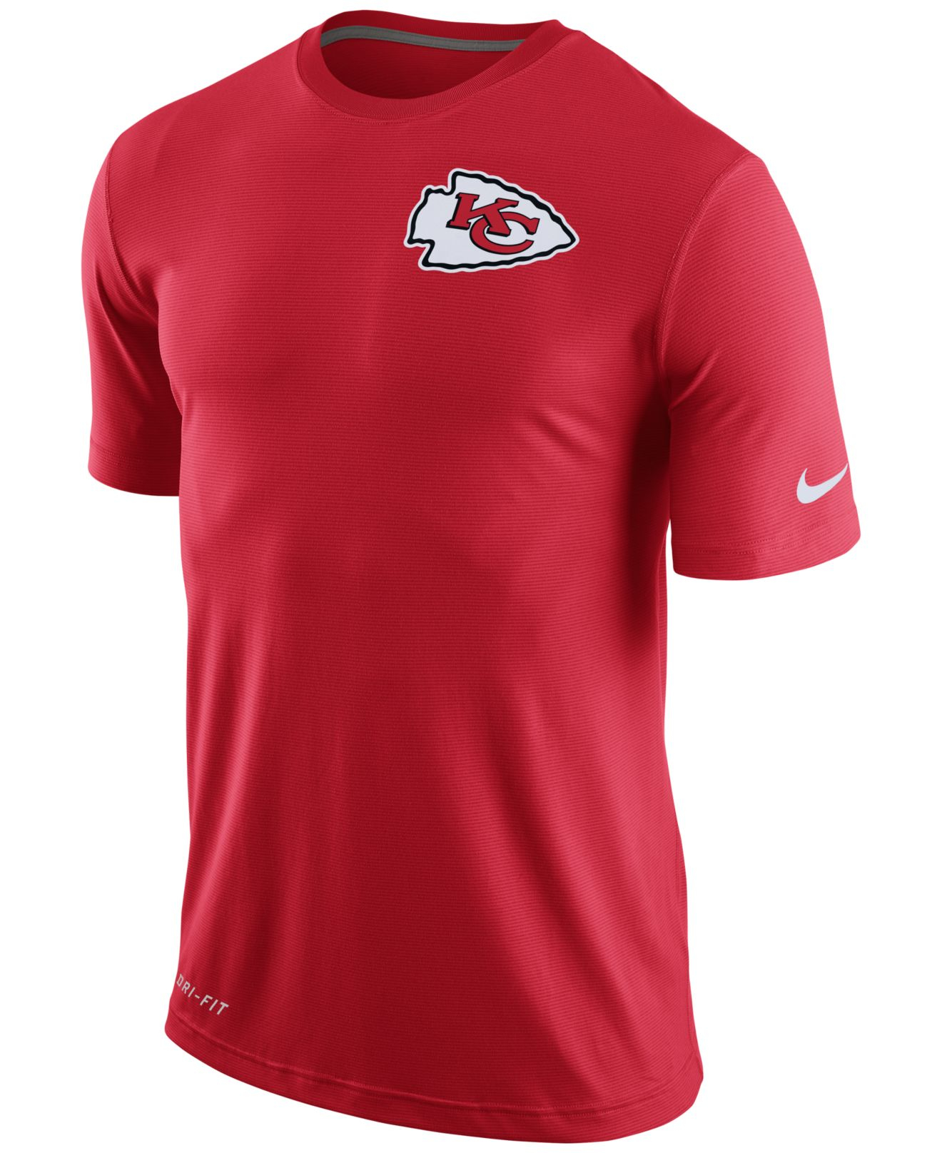 Nike men 39 s kansas city chiefs dri fit touch t shirt in red for Kansas city chiefs tee shirts