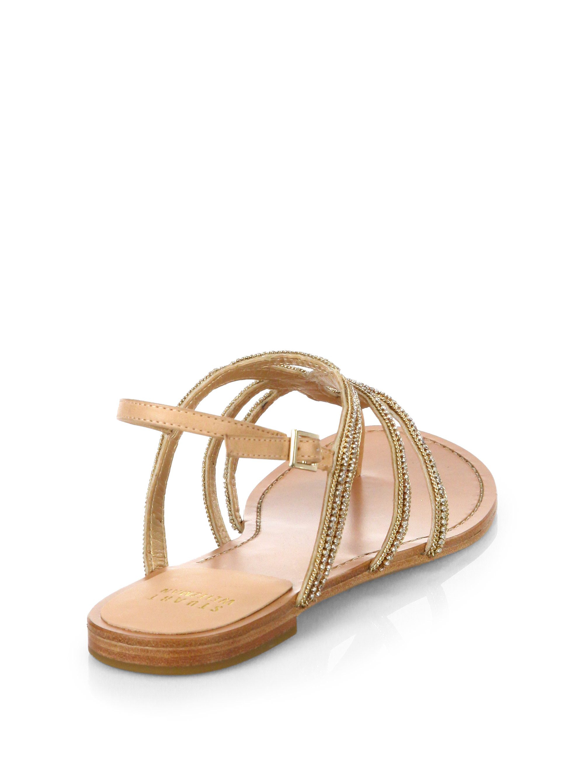 Stuart Weitzman Crystal-Embellished Metallic Sandals clearance store for sale k8nDU