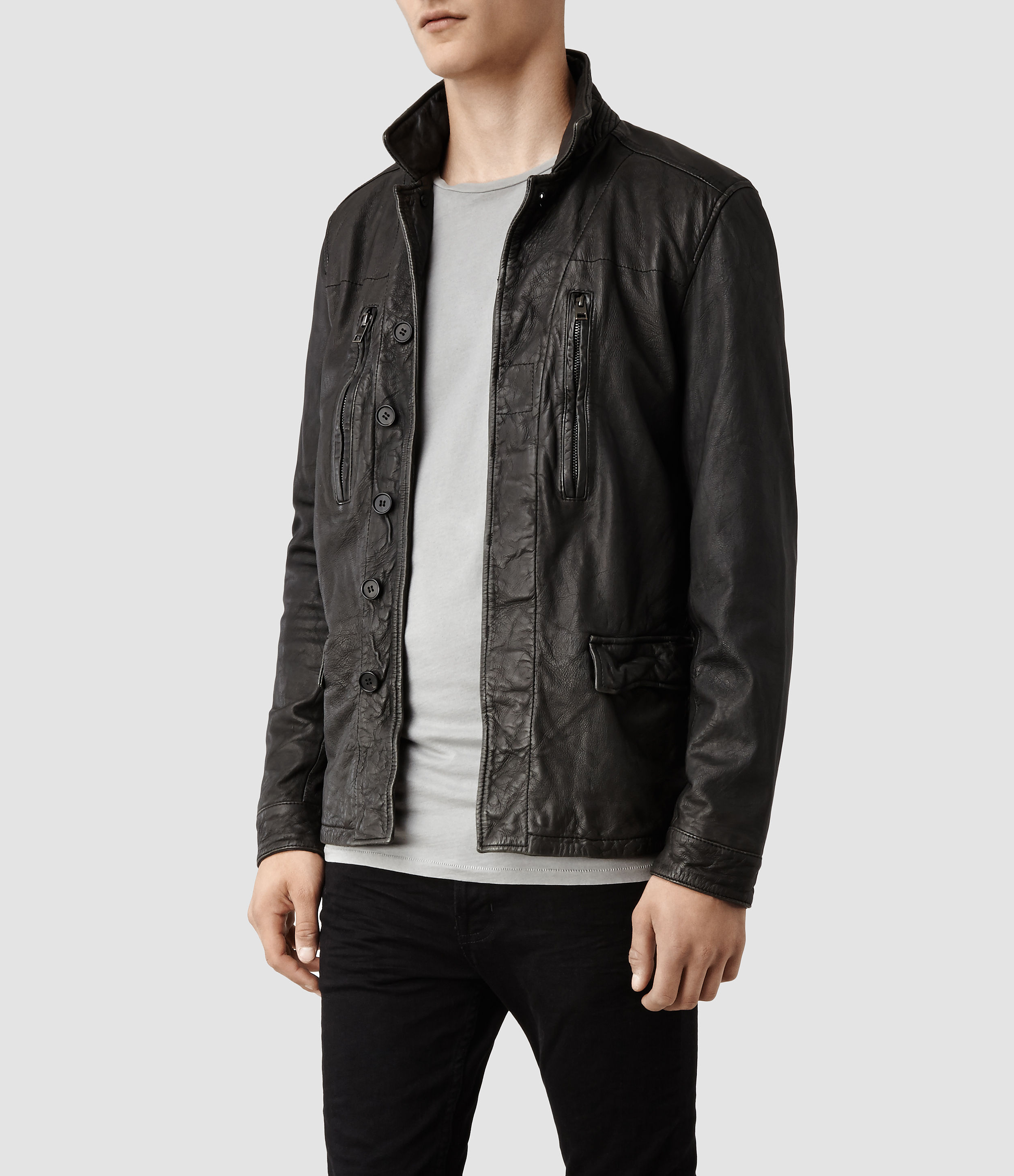 02cbe0b051b9 Allsaints Melville Leather Jacket In Gray For Men Lyst