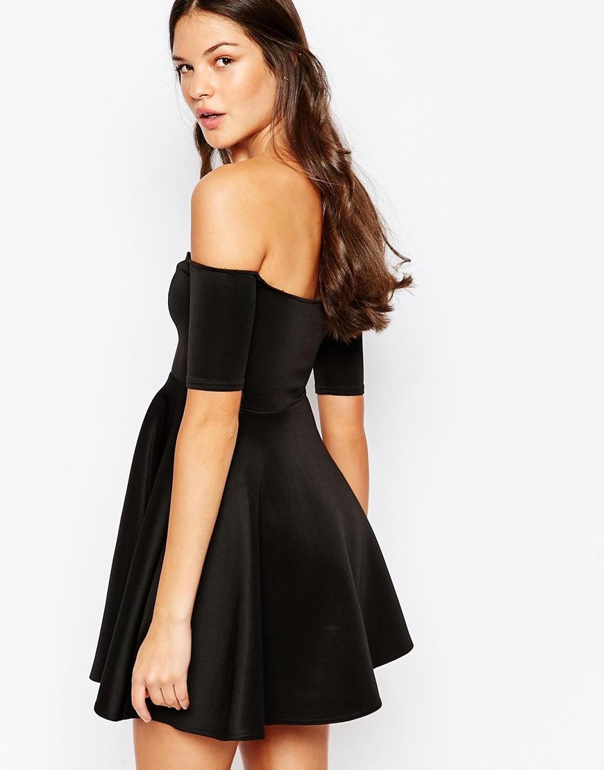442999f3b68 Oh My Love Off Shoulder Skater Dress in Black - Lyst