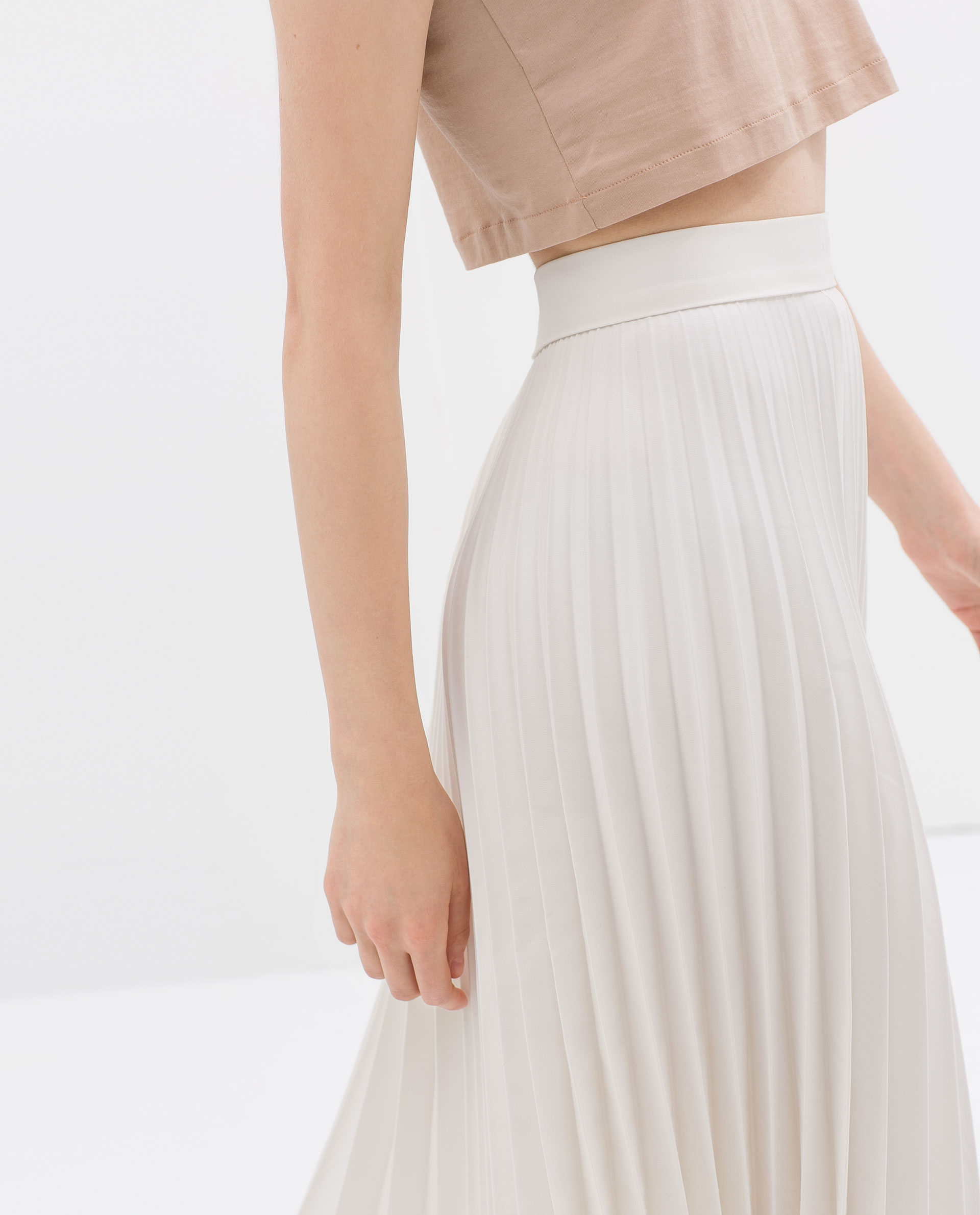 zara coated pleated skirt in white lyst