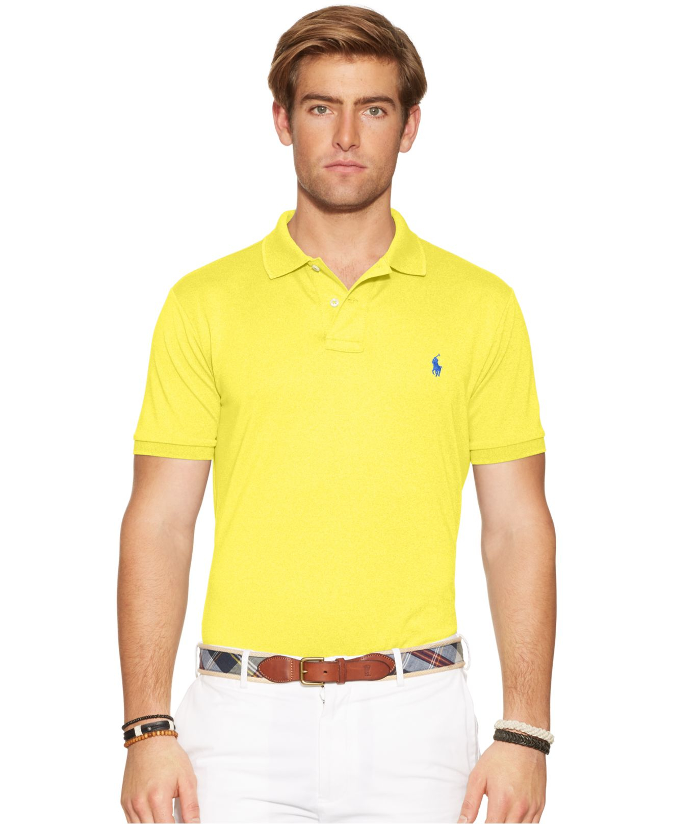 Polo Ralph Lauren Performance Mesh Polo Shirt In Yellow