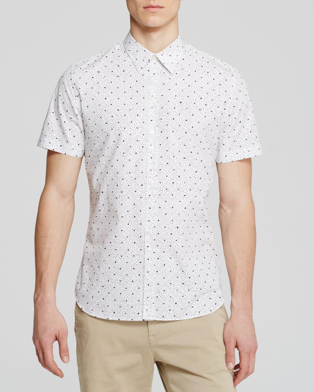Paul smith mini dot button down shirt slim fit in white for Slim fit white button down shirt