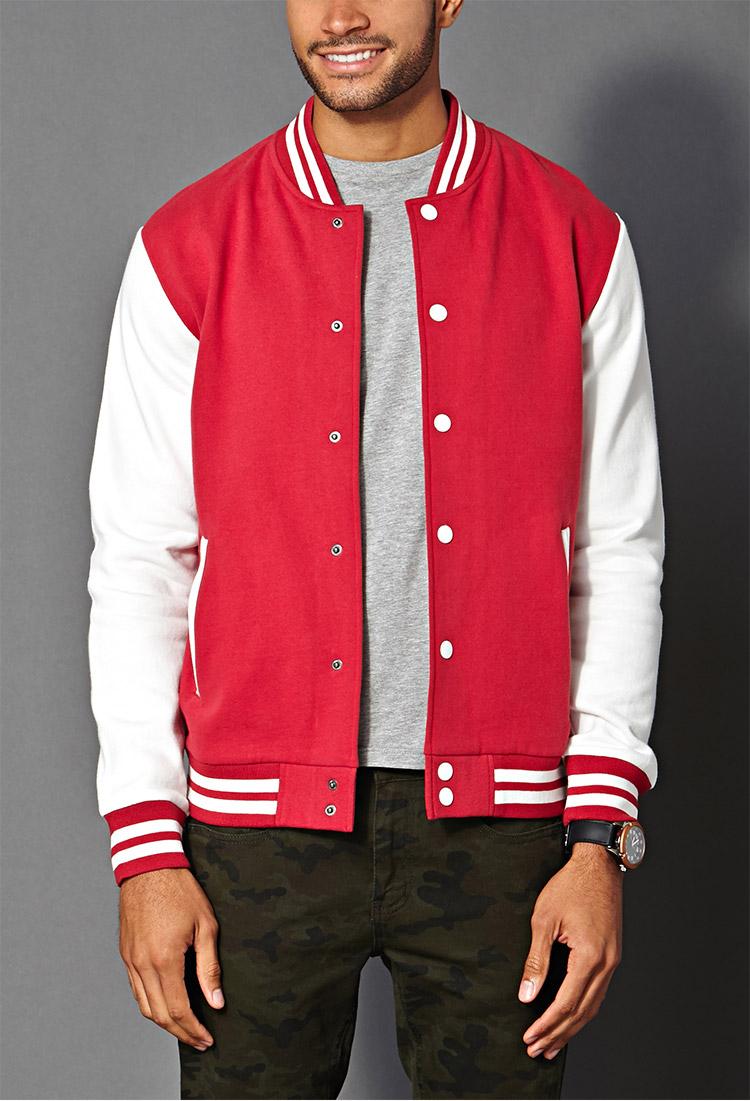 Forever 21 Classic Varsity Jacket In White For Men Lyst