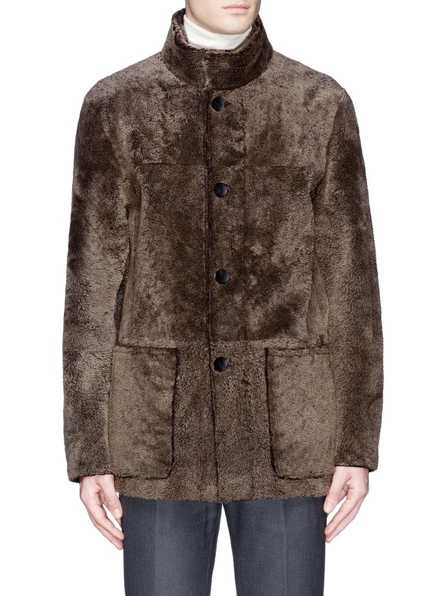 Armani Reversible Shearling Leather Coat In Brown For Men