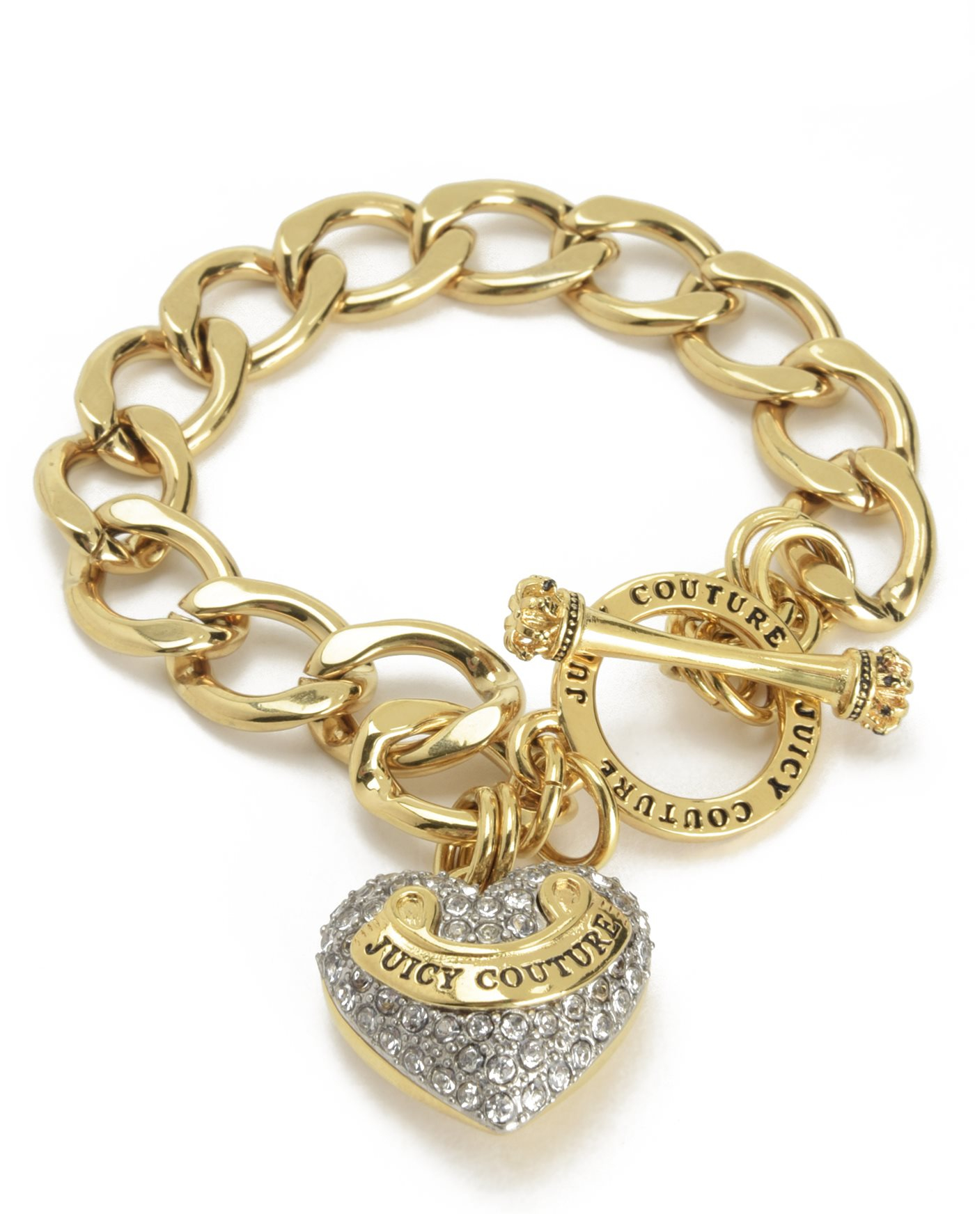 Juicy couture pave banner heart starter bracelet in metallic lyst