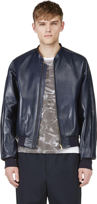 Juun.j Navy Lambskin Leather Bomber Jacket in Blue for Men | Lyst