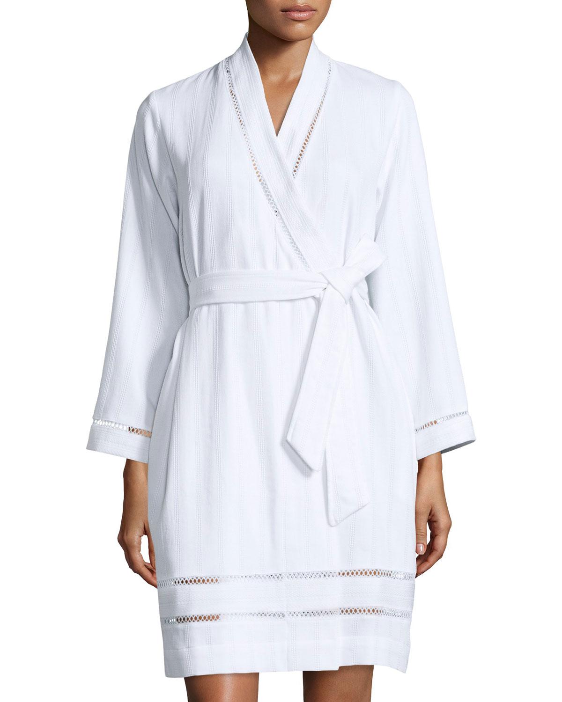 oscar de la renta luxe spa short robe in white lyst. Black Bedroom Furniture Sets. Home Design Ideas
