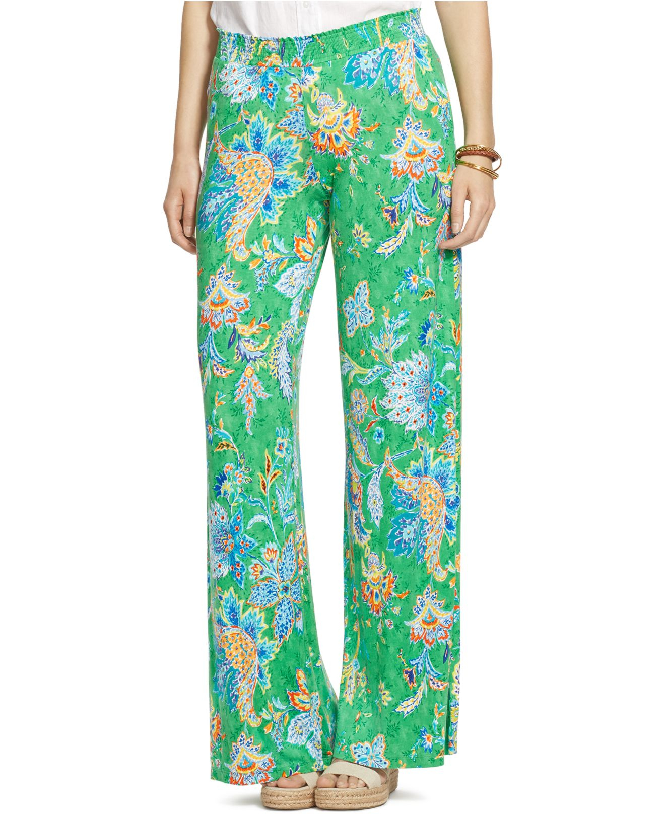 Lauren by ralph lauren Plus Size Wide-Leg Paisley Pants in Green ...