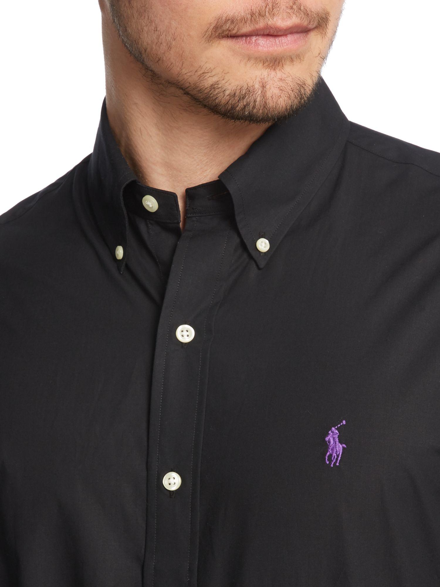 Polo ralph lauren Plain Long Sleeve Button Down Shirt in Black for ...