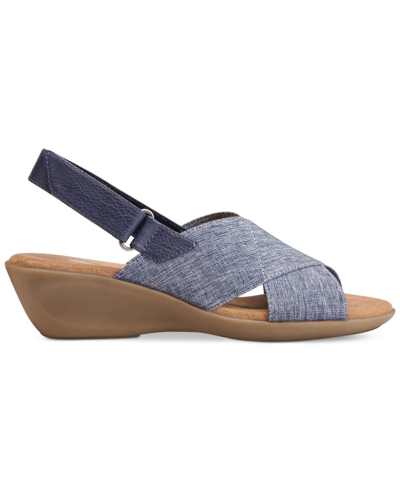 aerosoles badlands wedge sandals in beige chamb blue lyst