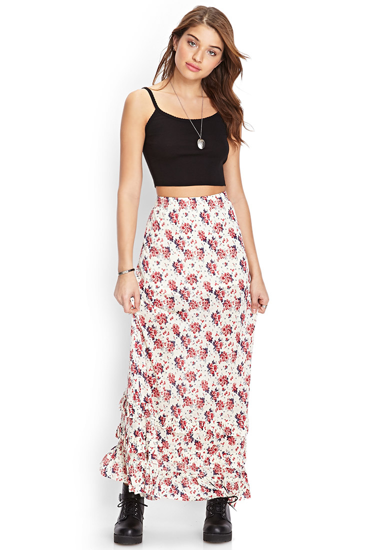 Forever 21 Tiered Floral Maxi Skirt in Natural | Lyst