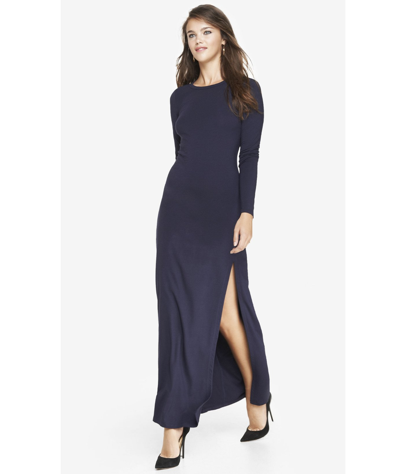 29bc23bf9a Lyst - Express Long Sleeve Slit Front Maxi Dress - Indigo in Blue