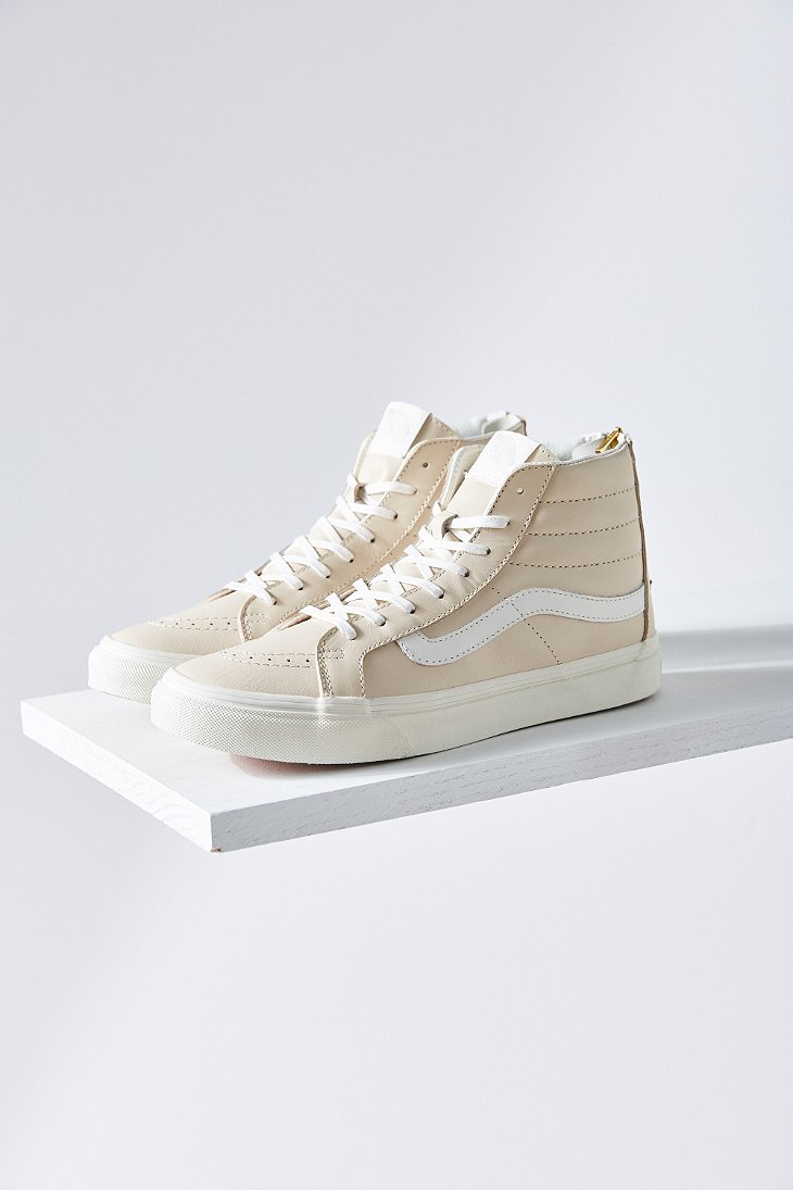 71da0562ff Lyst - Vans Cream Leather Sk8-hi Slim Sneaker in Natural