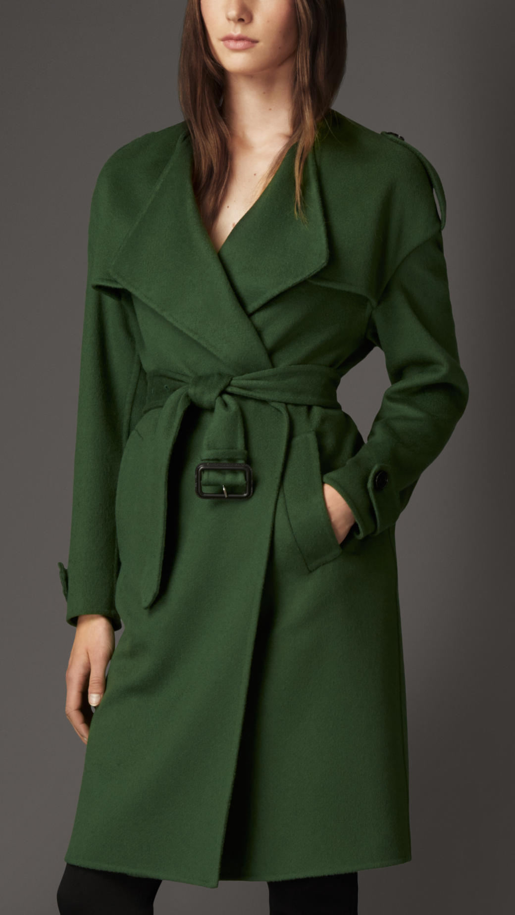 Lyst Burberry Cashmere Wrap Trench Coat In Green