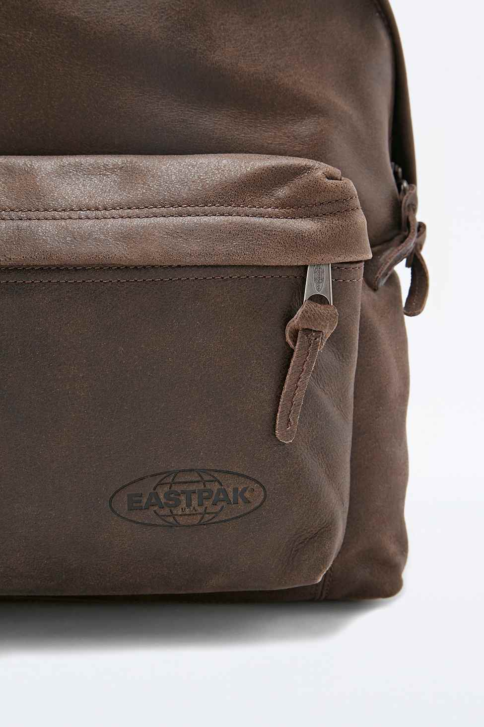 Leather Eastpak Backpack: Eastpak Pak'r Padded Leather Backpack In Chocolate In