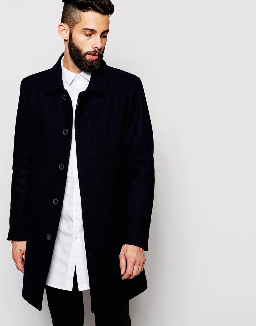 Only & sons Wool Mac in Blue for Men | Lyst