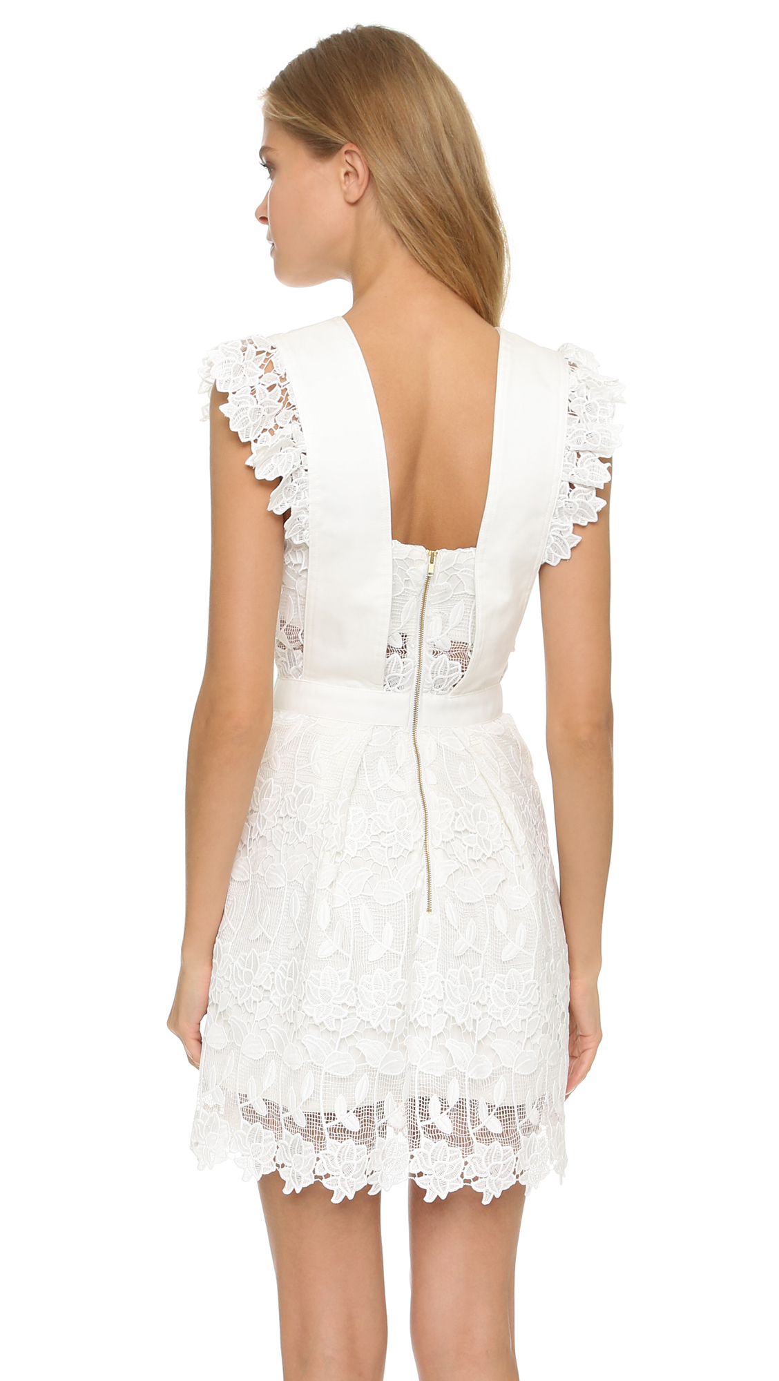 Lyst Self Portrait Frilled Lace Dress In White