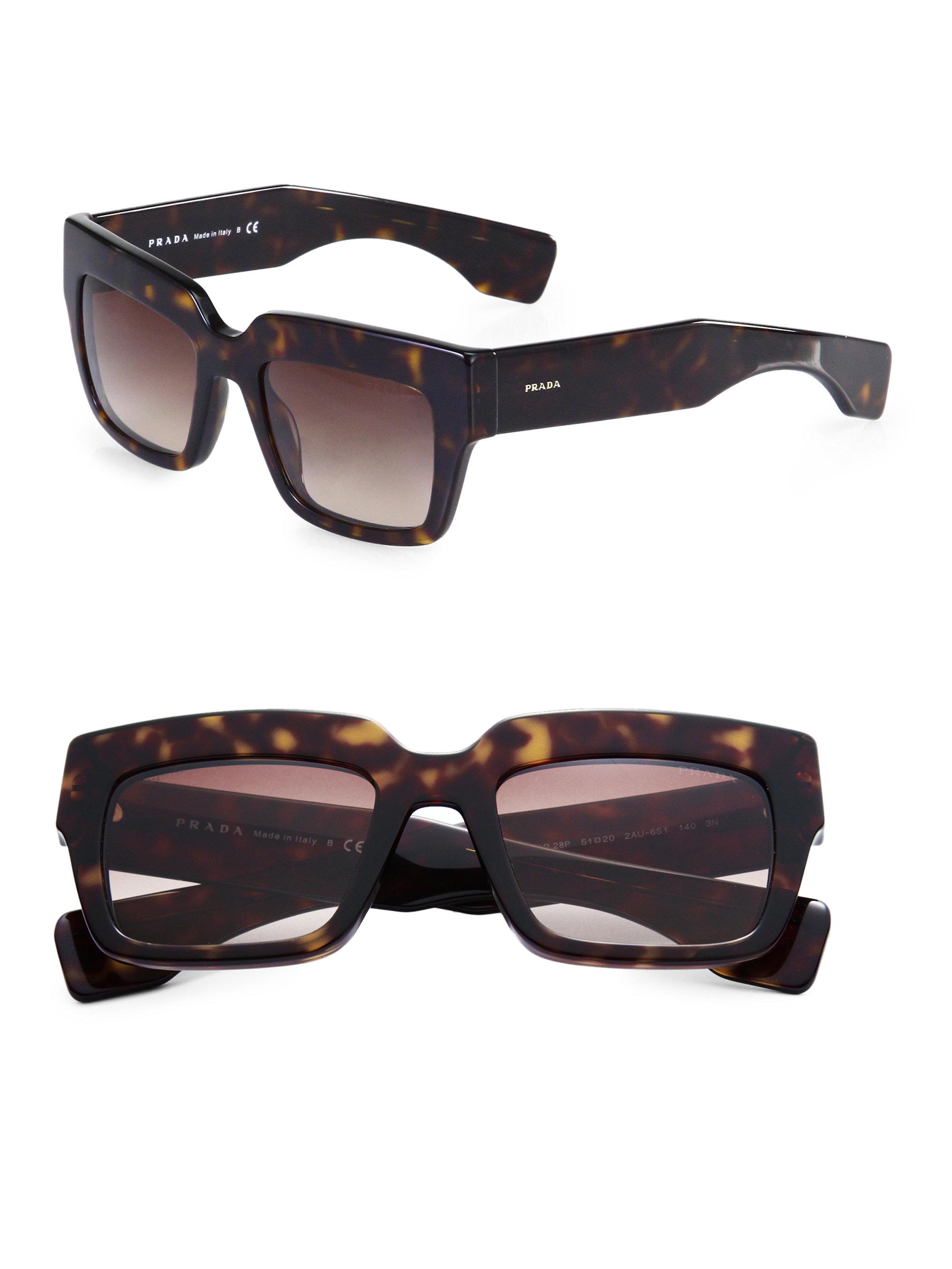 1f5d214160 Lyst - Prada Poeme Tortoise-Print Square Sunglasses in Brown