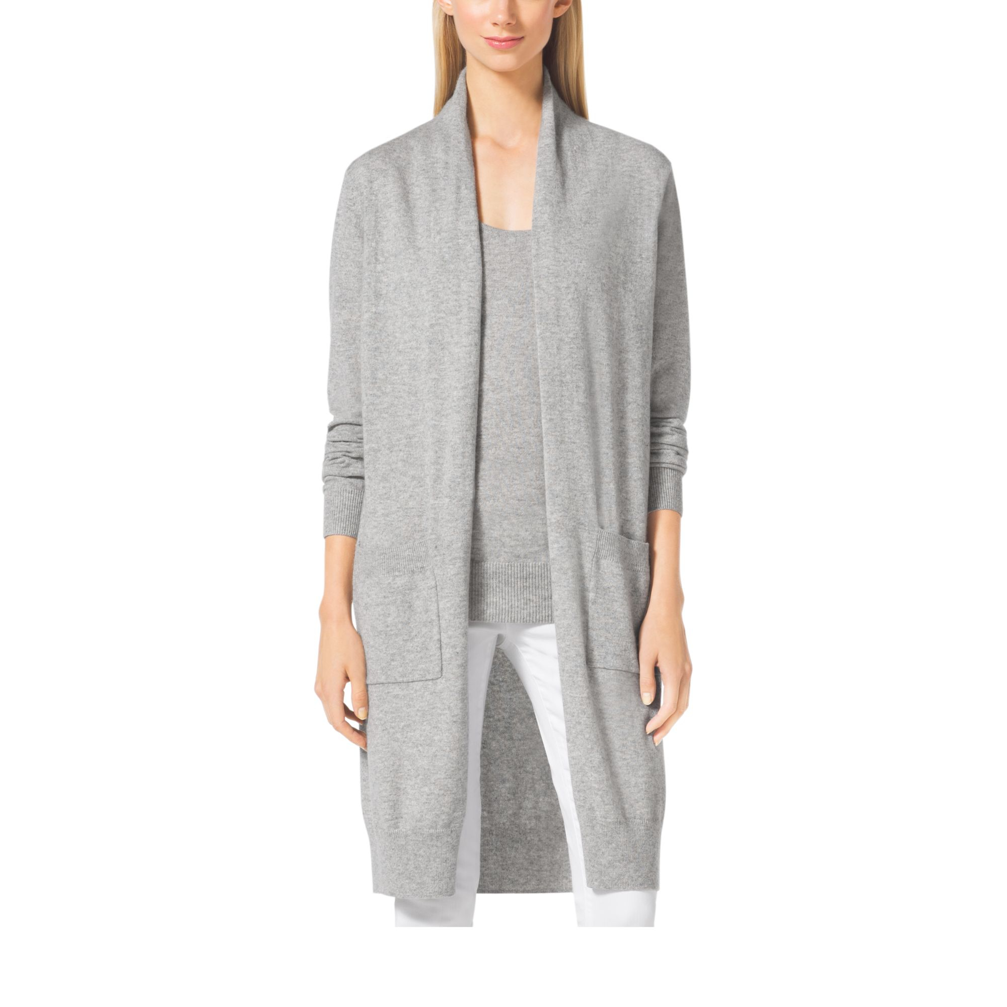 509d661c7c5c Michael Kors Merino Wool And Cashmere Cardigan in Gray - Lyst