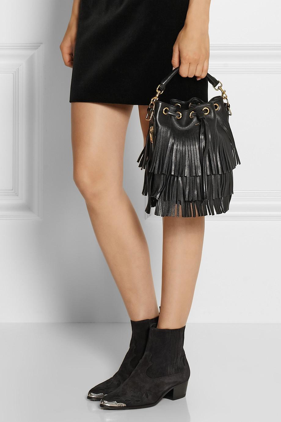 ysl purse price - emmanuelle suede leopard-print fringe bucket bag, tan/black