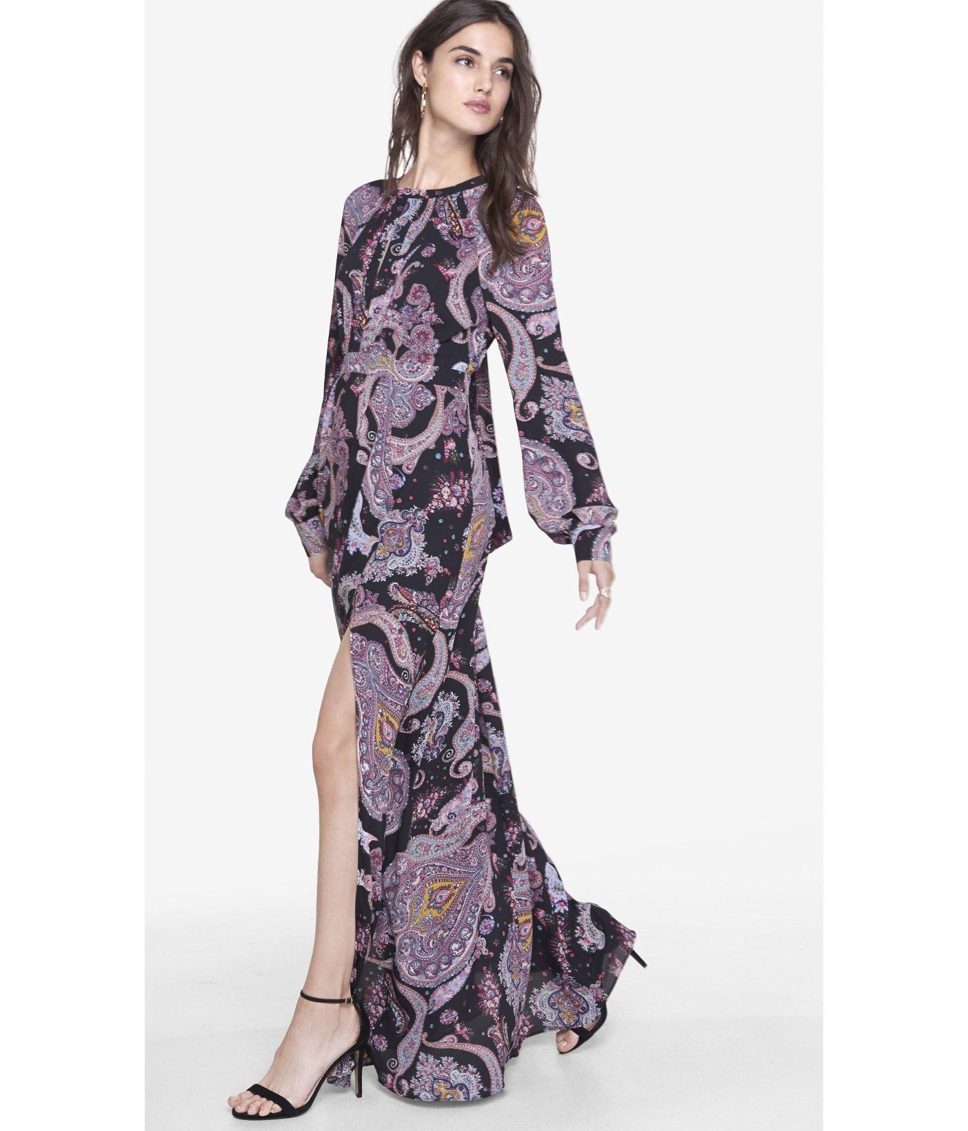 Shirred Long Sleeve Dress Express Dress On Sale