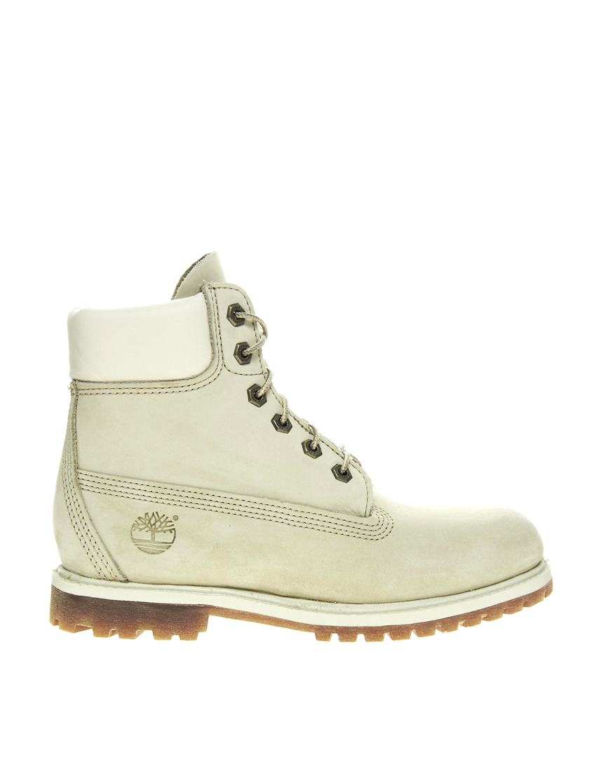 timberland 6 premium winter white lace up flat boot in