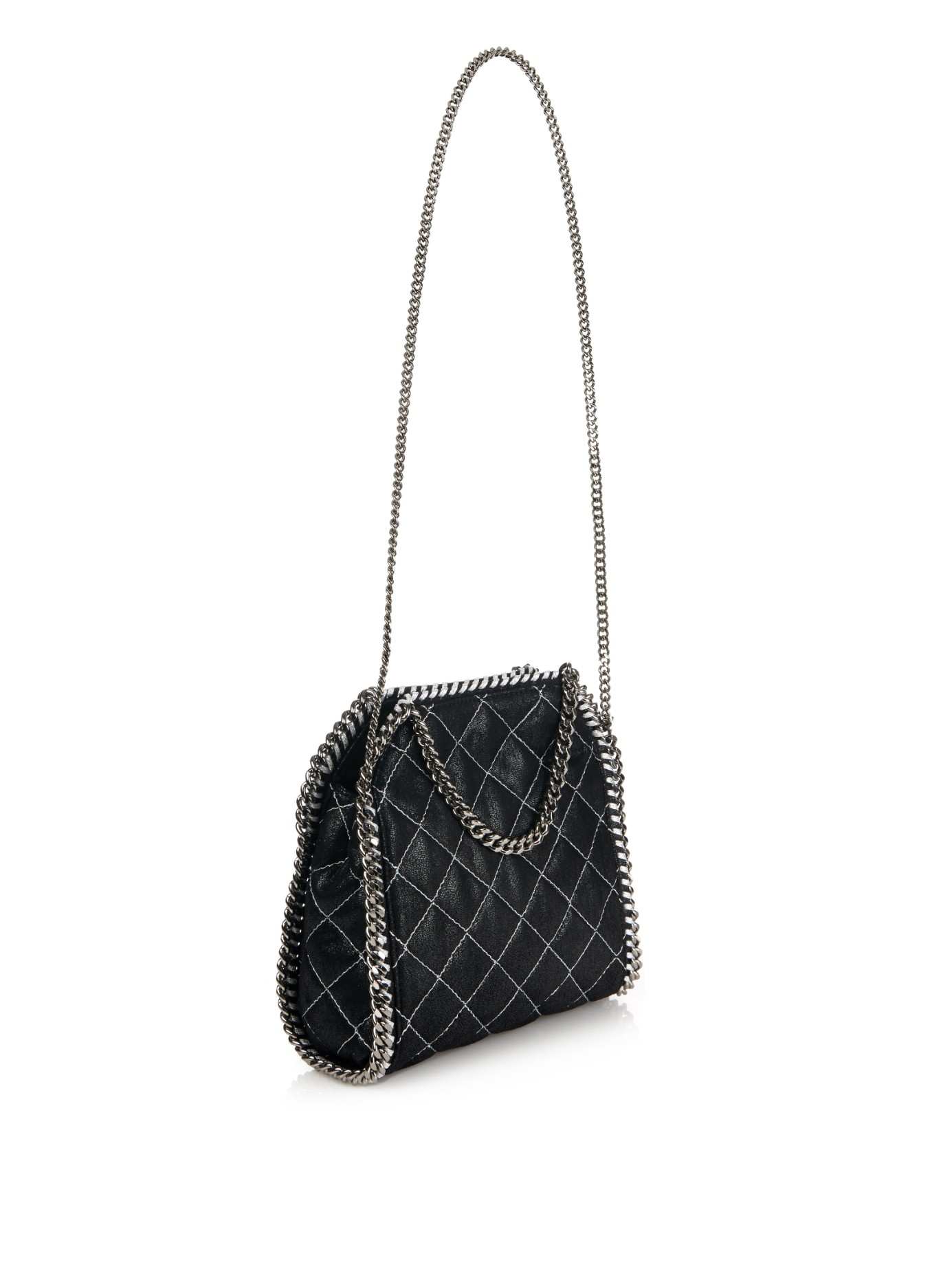 Lyst - Stella McCartney Falabella Small Quilted Cross-Body Bag in Black fcf2063fedaca