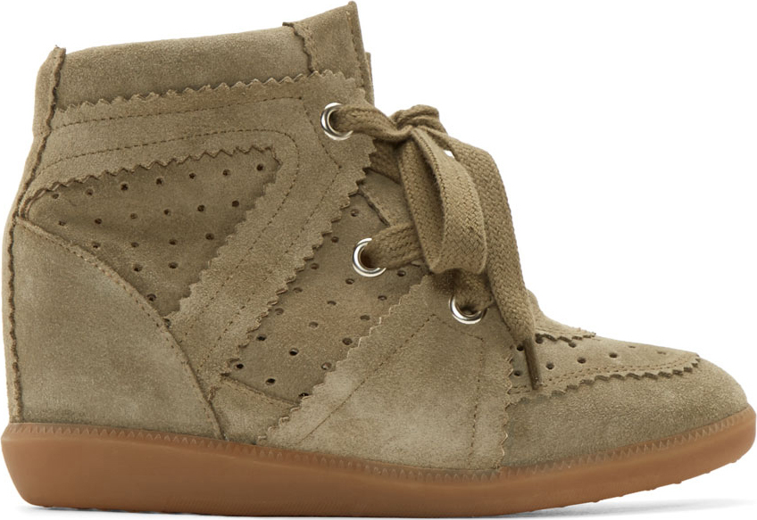 Très Isabel marant Olive Suede Bobby Stainer Basket Sneakers in Green  BG99