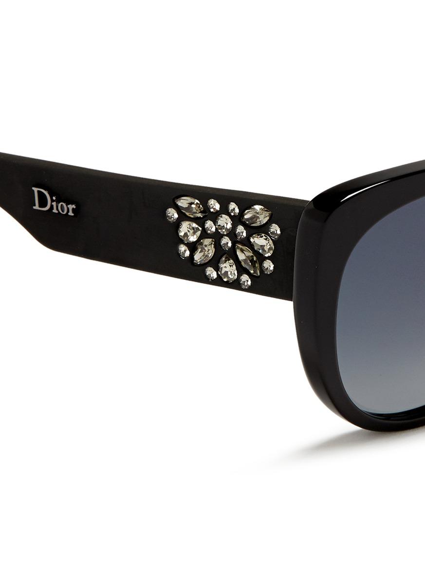 72fe622bc54a6 Dior   Inedite F  Crystal Temple Cat Eye Acetate Sunglasses in Black ...