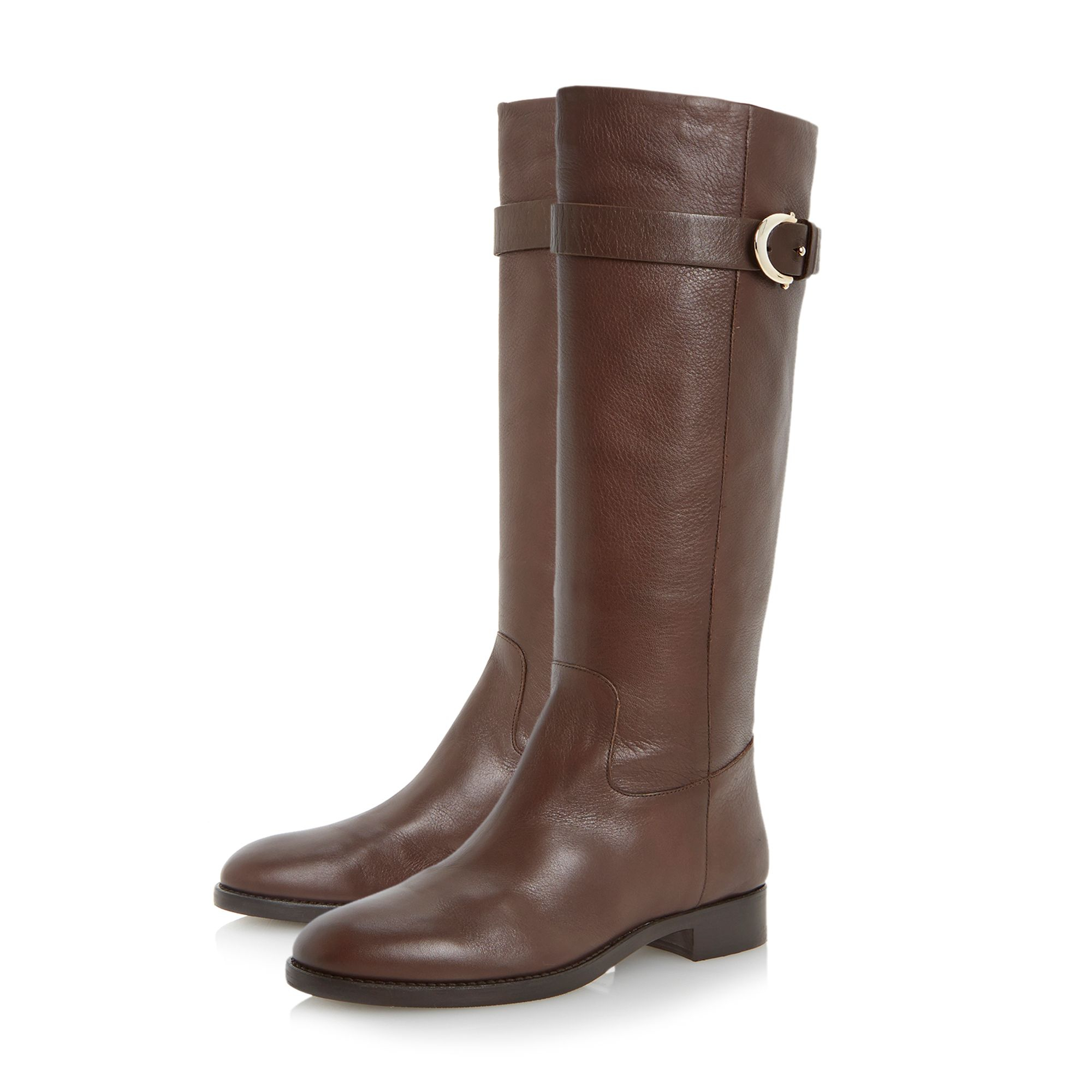 dune black tessie knee high buckle detail boots in brown