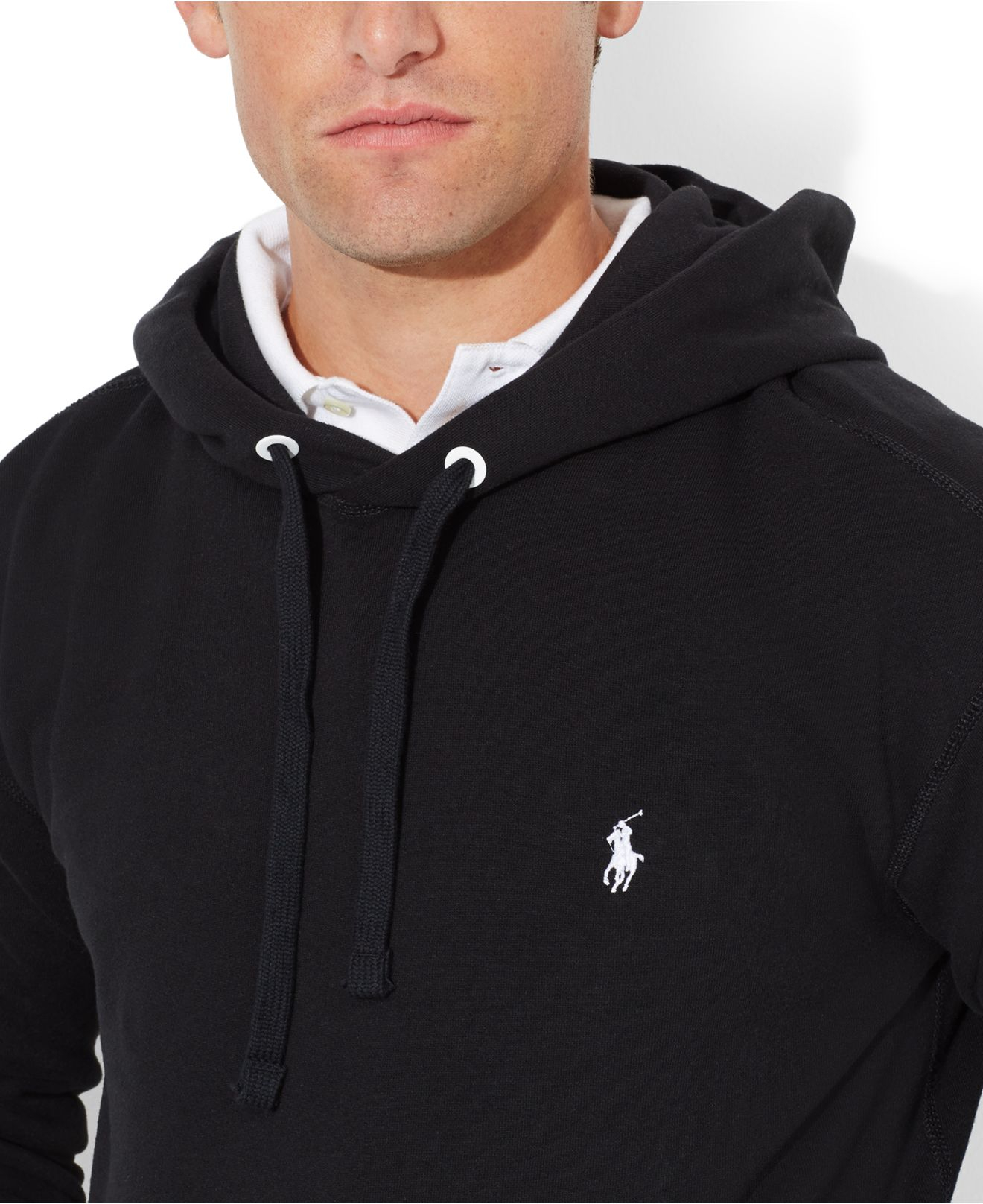polo ralph lauren solid fleece hoodie in black for men lyst. Black Bedroom Furniture Sets. Home Design Ideas