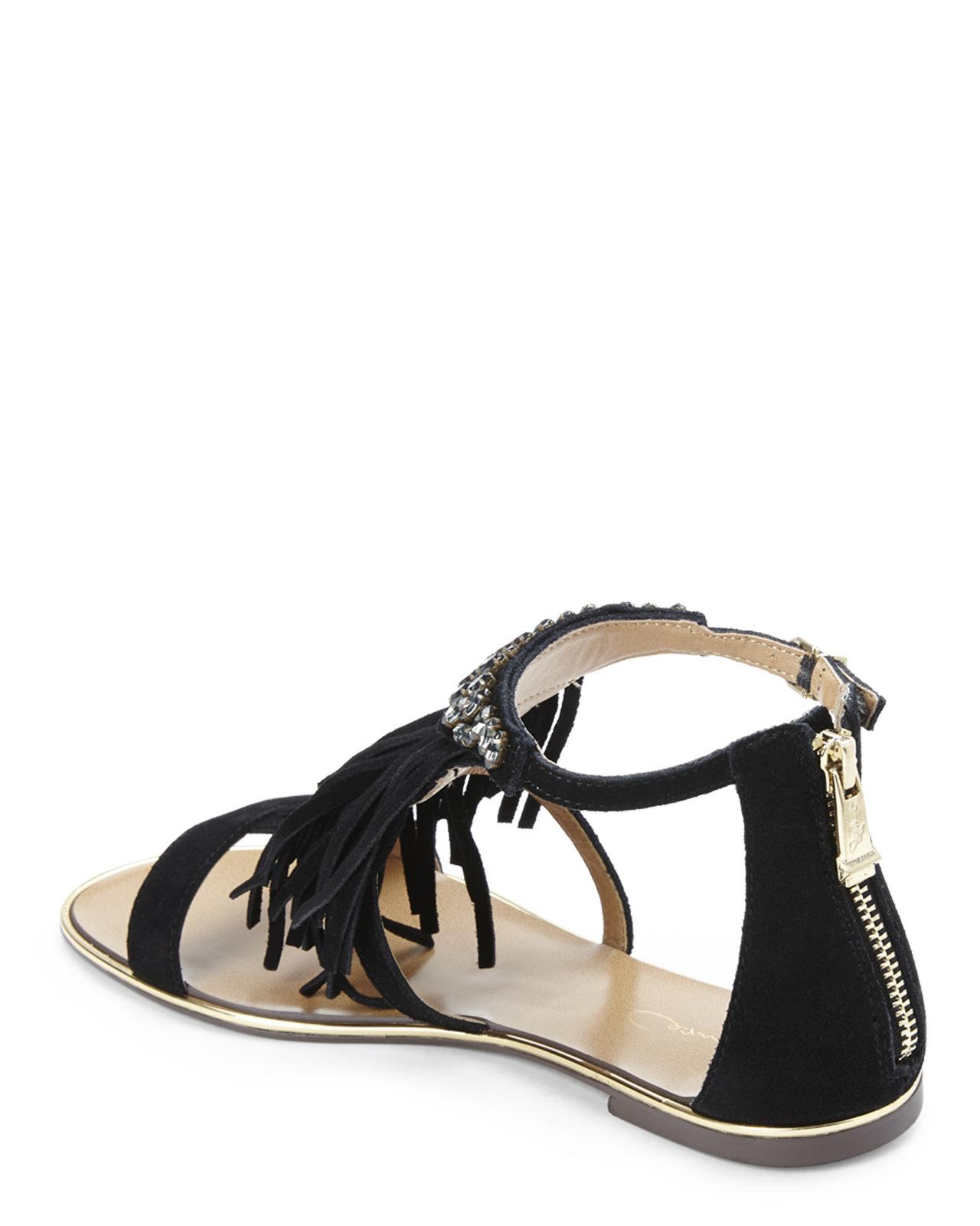 report signature black calin fringe sandals in black lyst