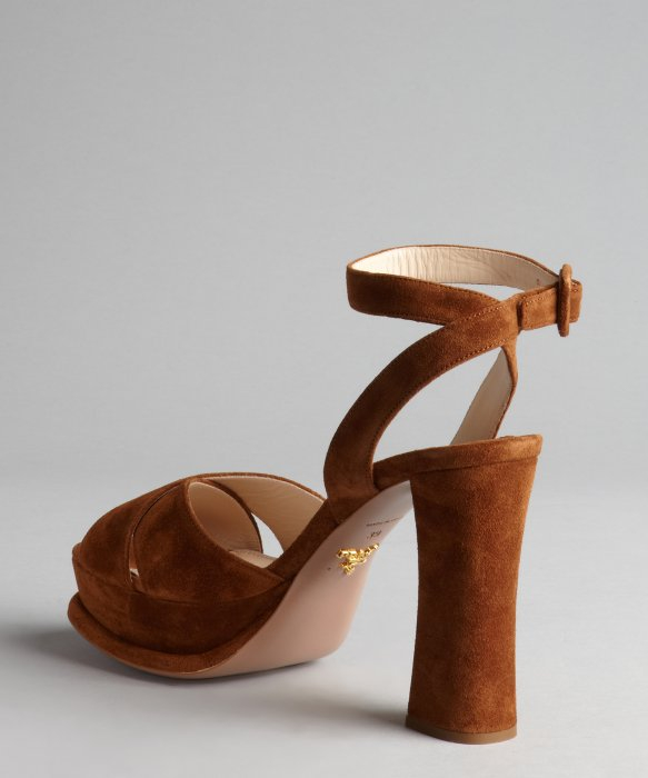 Prada Nutmeg Suede Crossed Strap Chunky Heel Sandals in Brown | Lyst