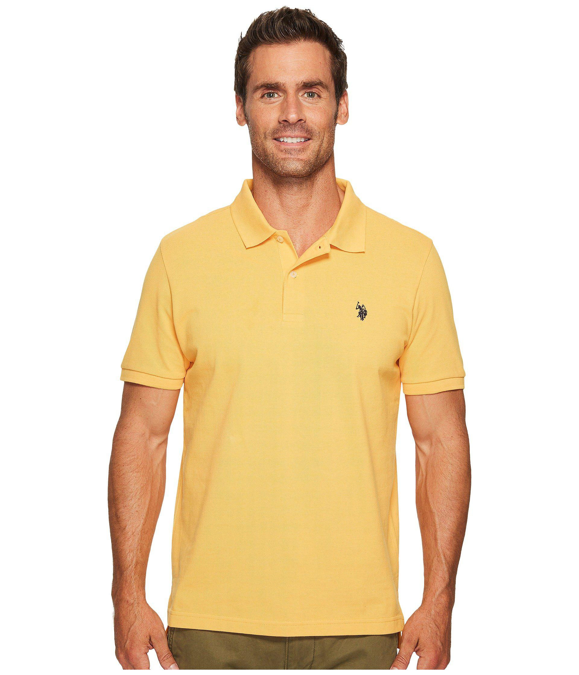 U.S. POLO ASSN. Men's Yellow Solid Cotton Pique Polo With Small Pony