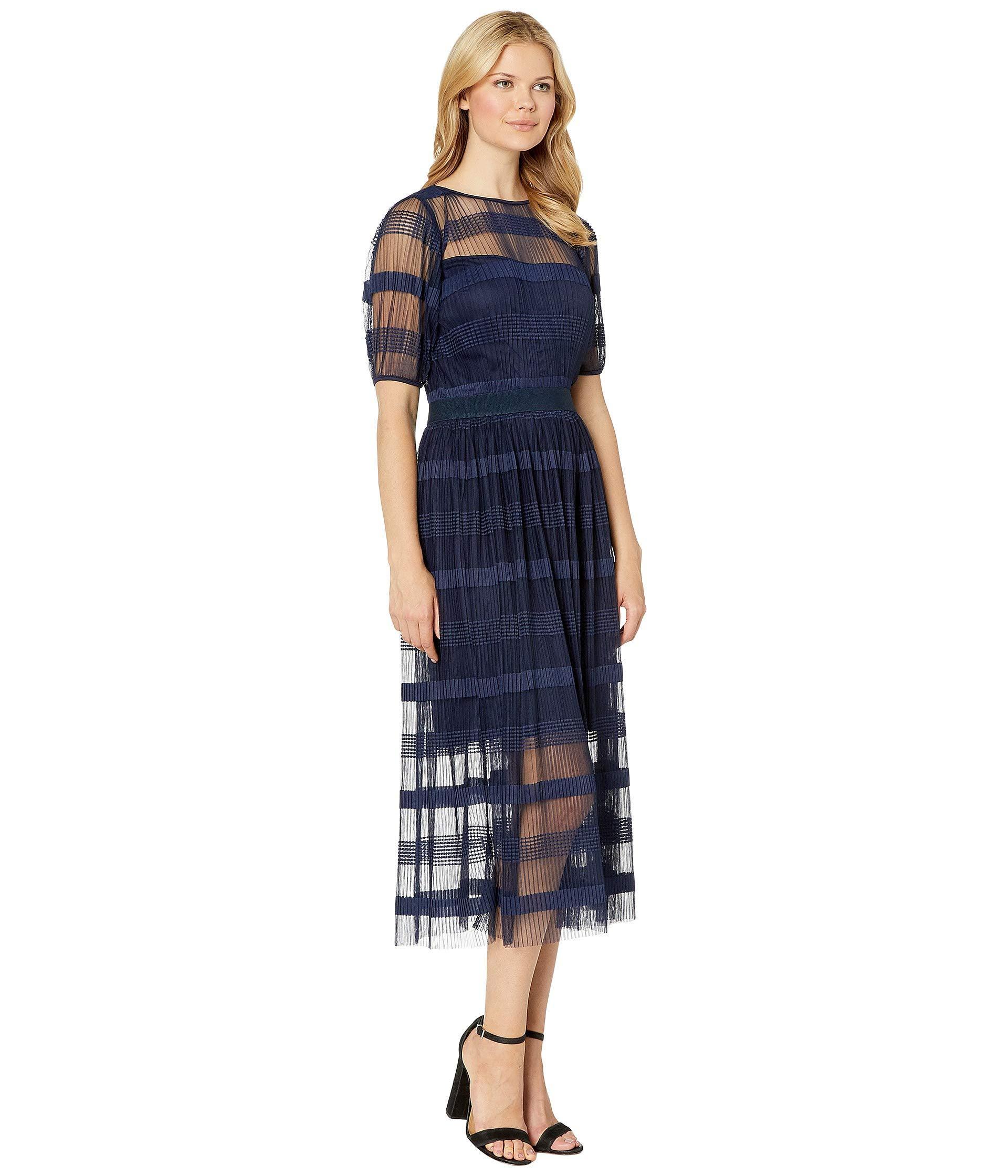 e313b9cf6b Eci - Blue Pleated Maxi Dress W  Short Sleeve - Lyst. View fullscreen